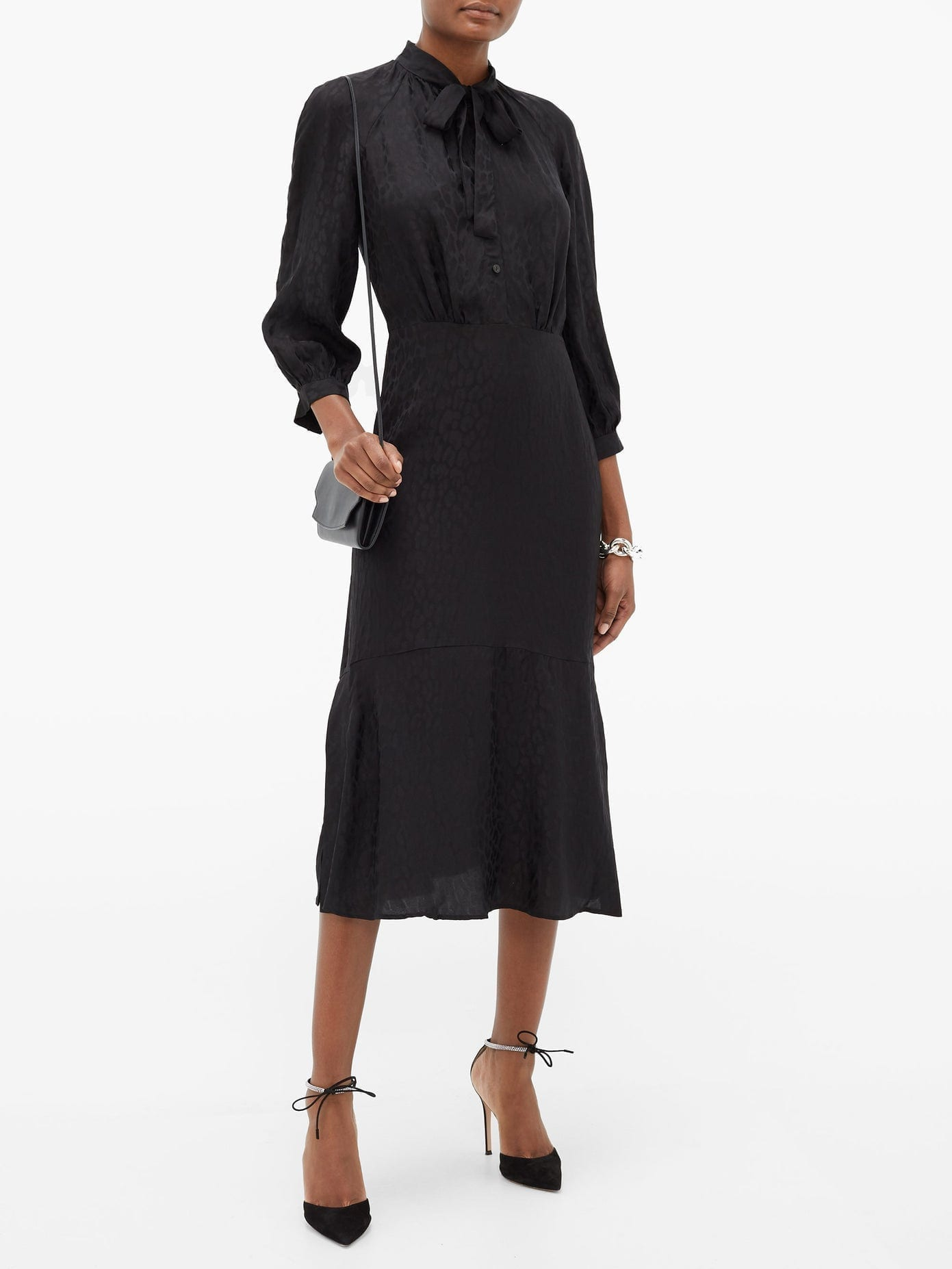 CEFINN Daria Leopard-jacquard Midi Dress