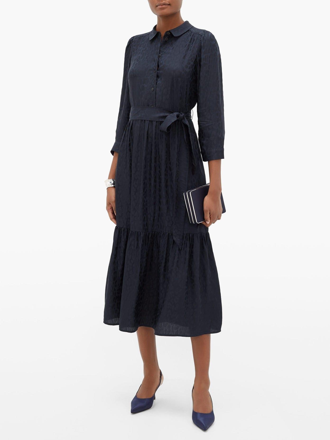 CEFINN Leopard-jacquard Twill Midi Dress
