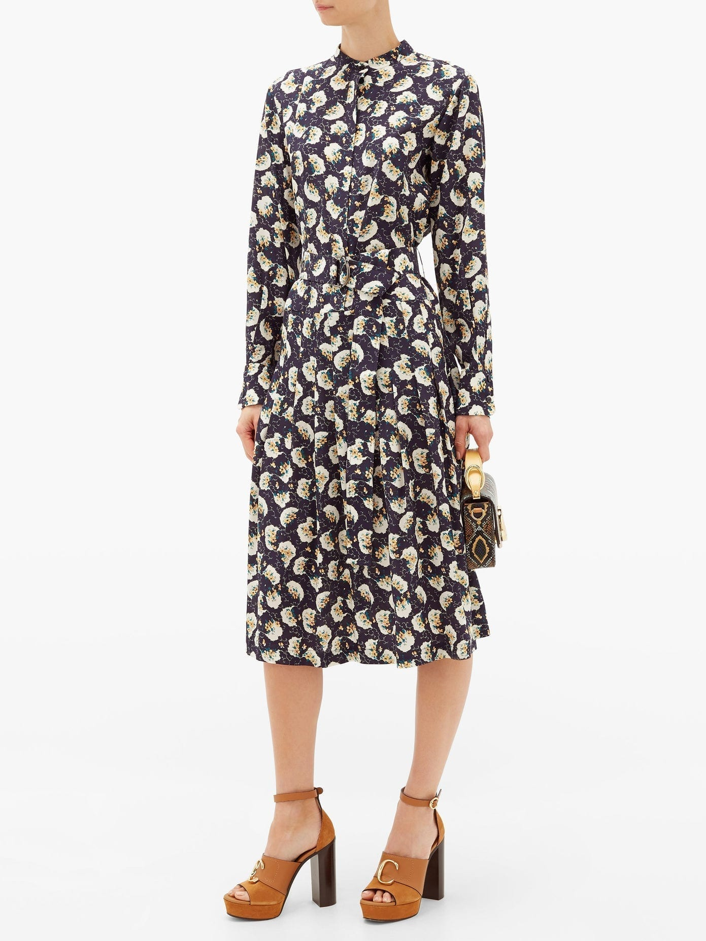 CHLOÉ Belted Pintucked Floral-print Silk Shirt Dress