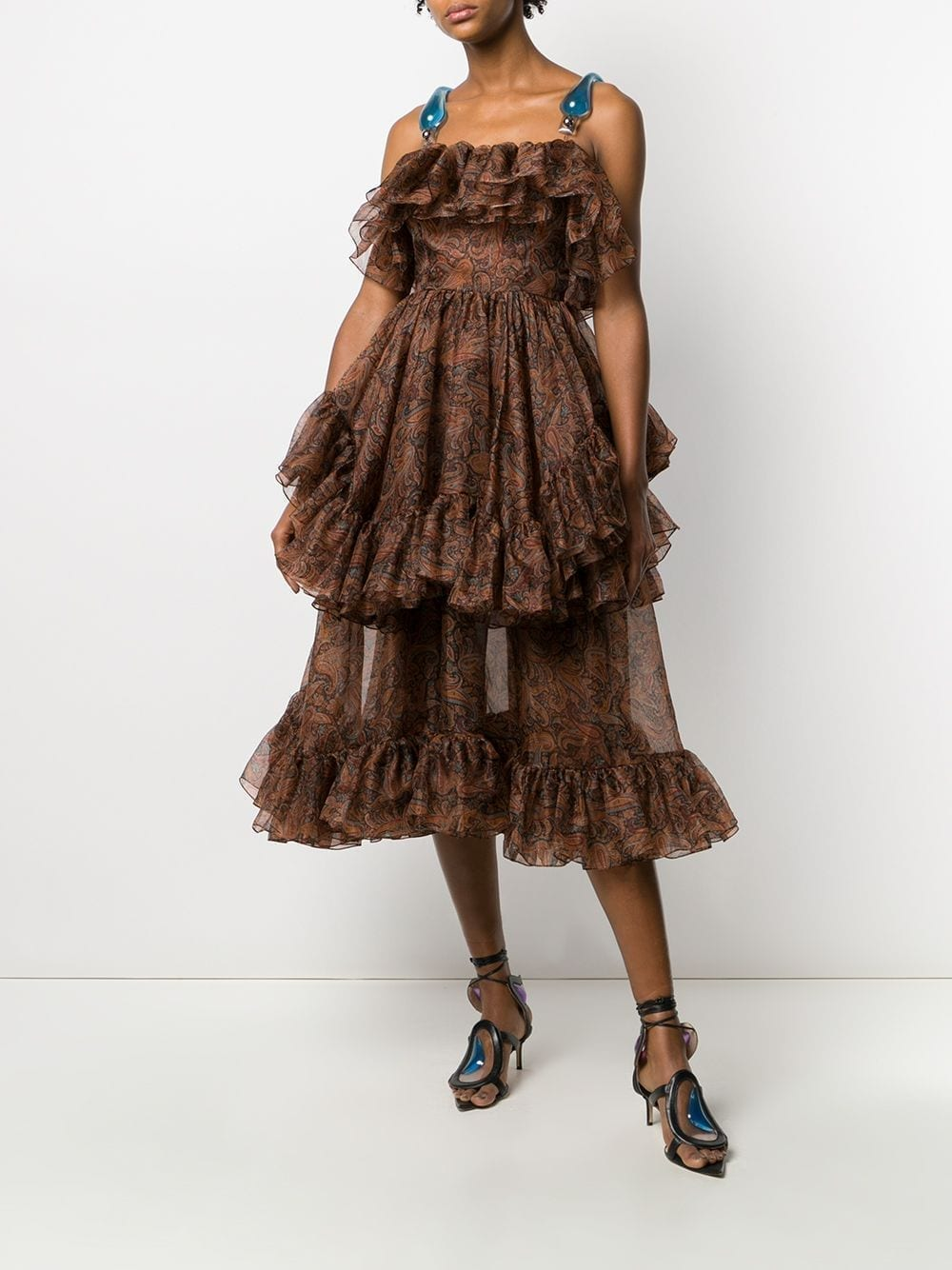 CHRISTOPHER KANE Paisley Organza Frill Dress