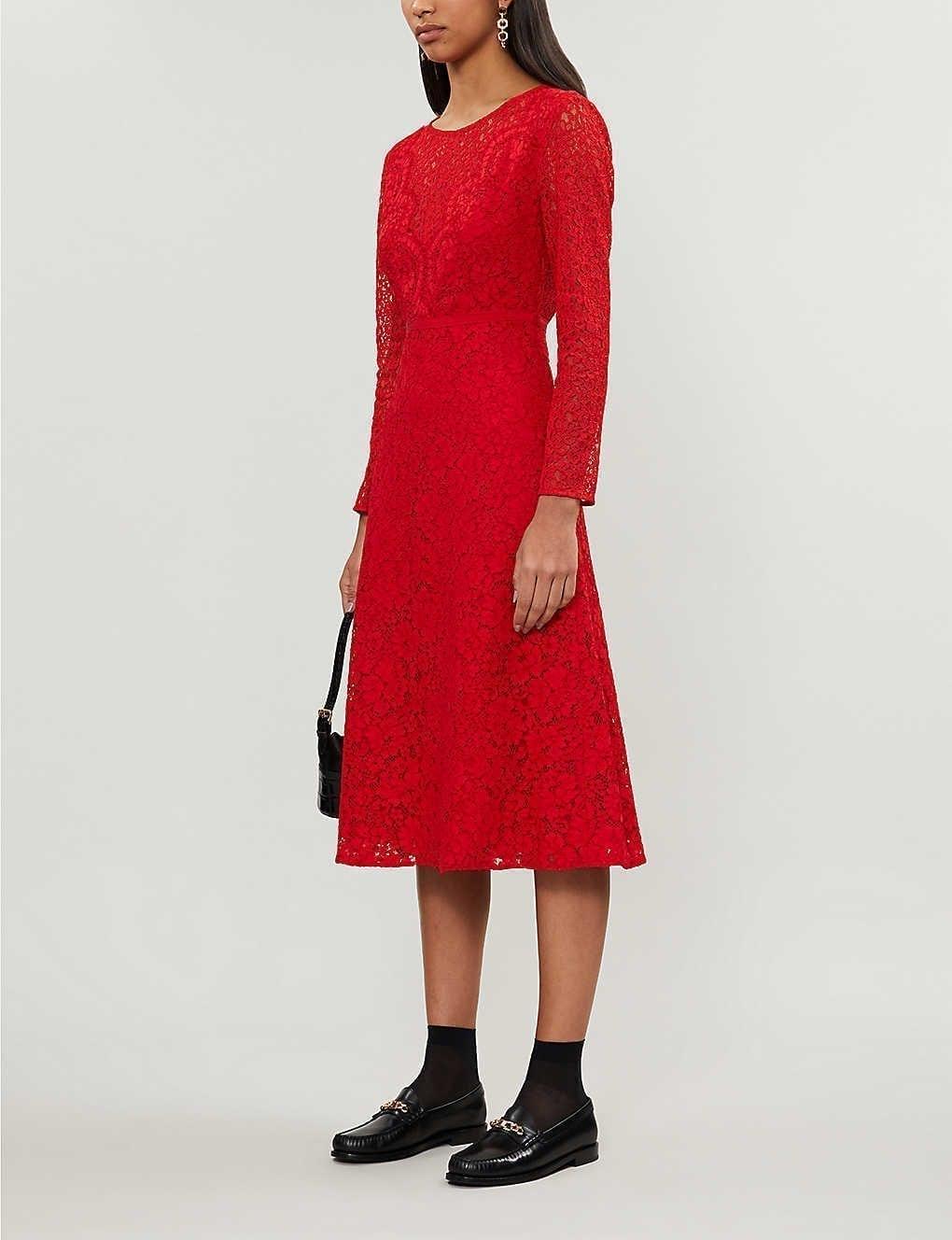 CLAUDIE PIERLOT Rabonie Floral Stretch-lace Midi Dress