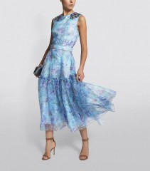 COSTARELLOS Floral Sequin-Embellished Organza Dress