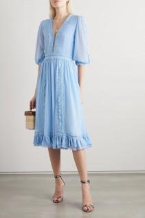 COSTARELLOS Lace-trimmed Chiffon Midi Dress
