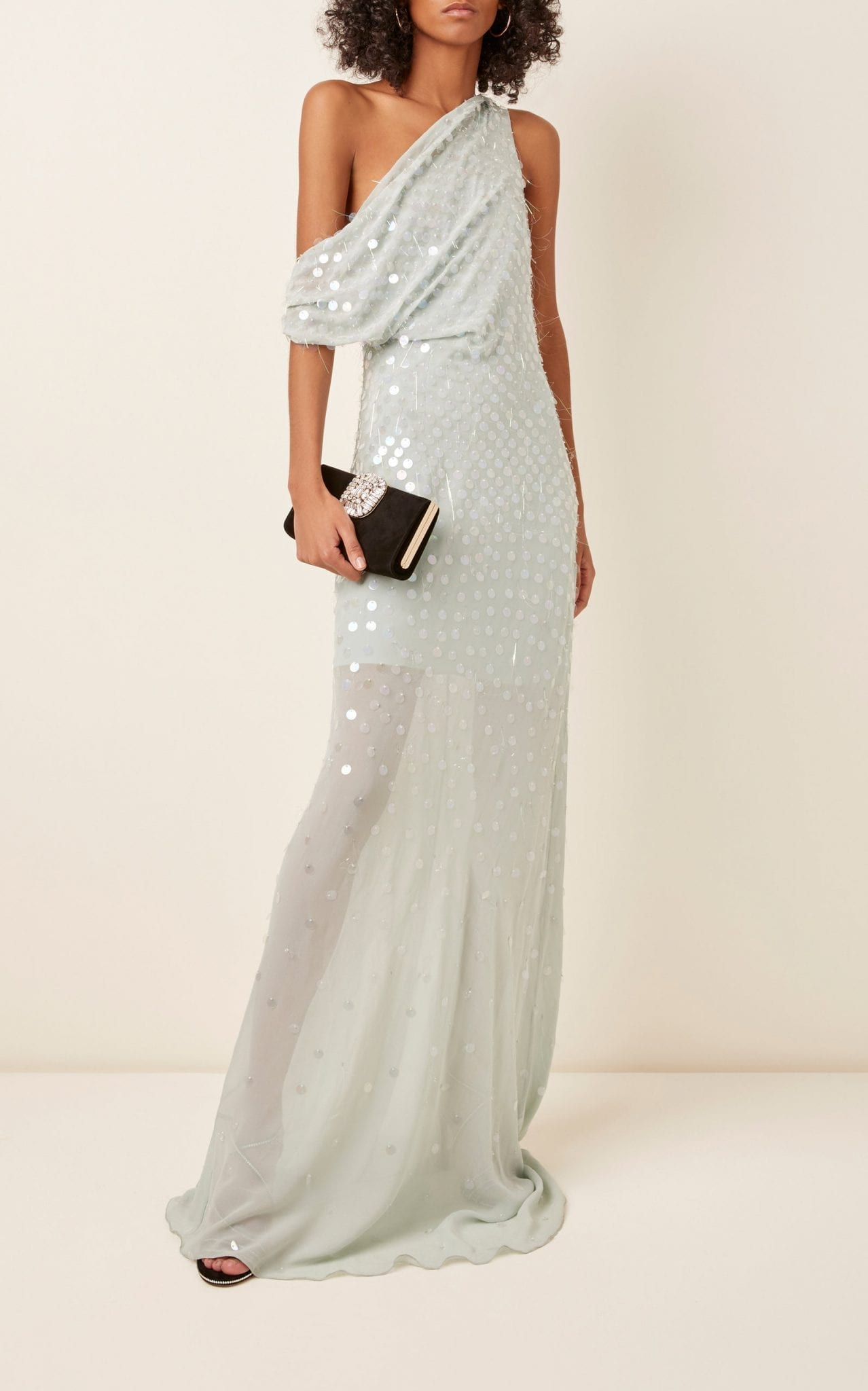 CUSHNIE Cold-Shoulder Sequined Silk-Chiffon Gown