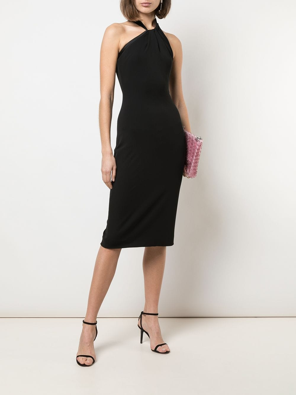 CUSHNIE Fitted Pleated Halterneck Dress