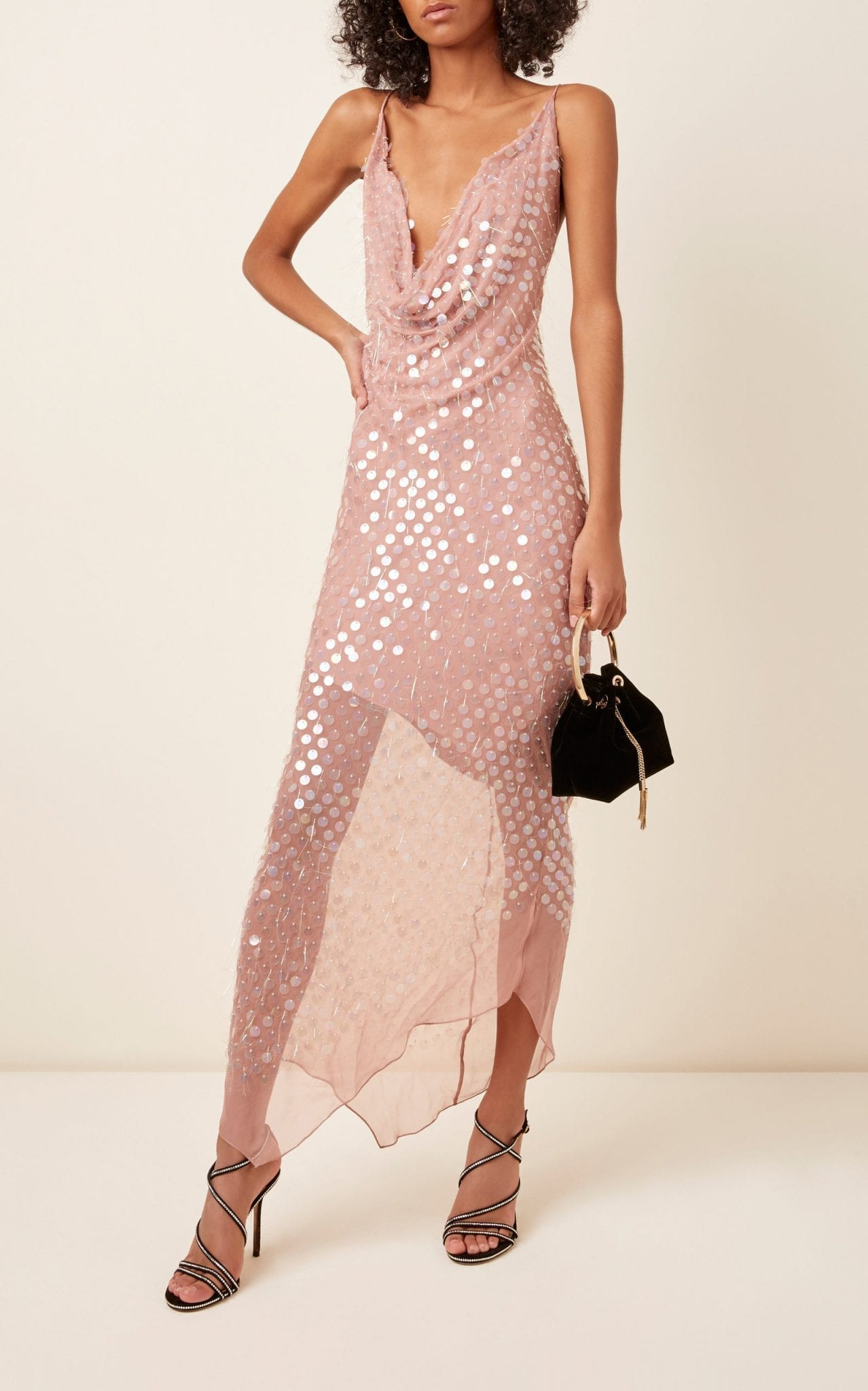 CUSHNIE Sequined Silk-Chiffon Midi Dress