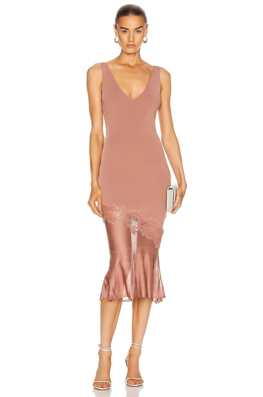 CUSHNIE Sleeveless V Neck Knit Dress