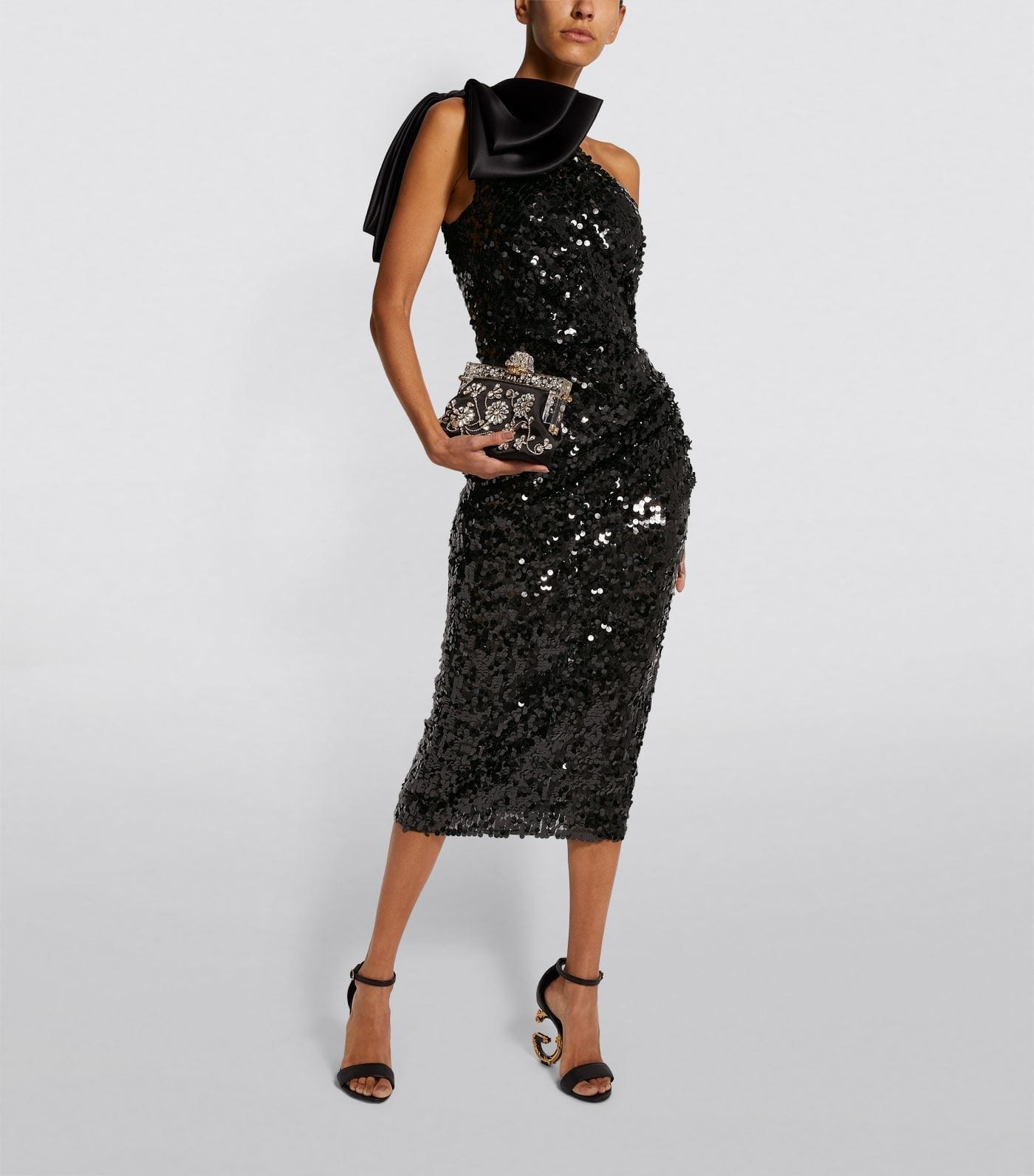 DOLCE & GABBANA Sequin Bow Shoulder Dress