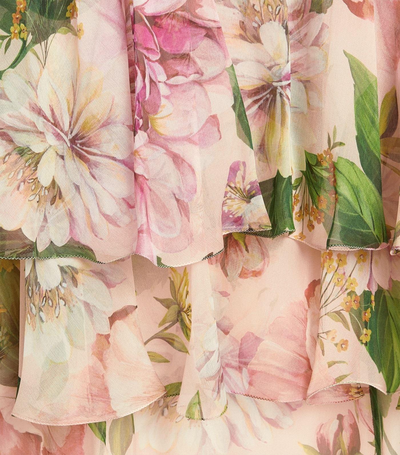 DOLCE & GABBANA Silk Floral Print Layered Maxi Dress