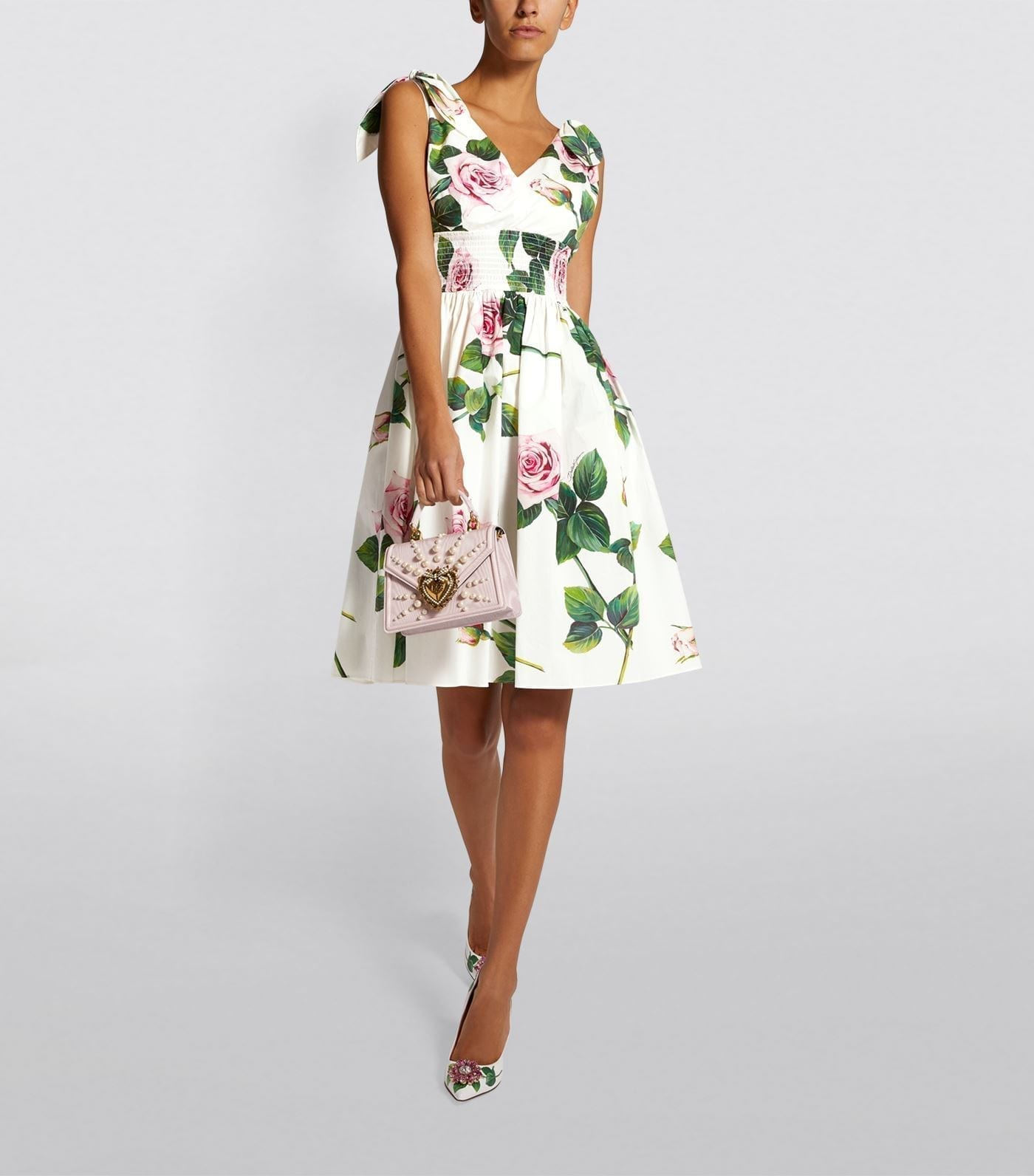 DOLCE & GABBANA Tropical Rose Print Midi Dress
