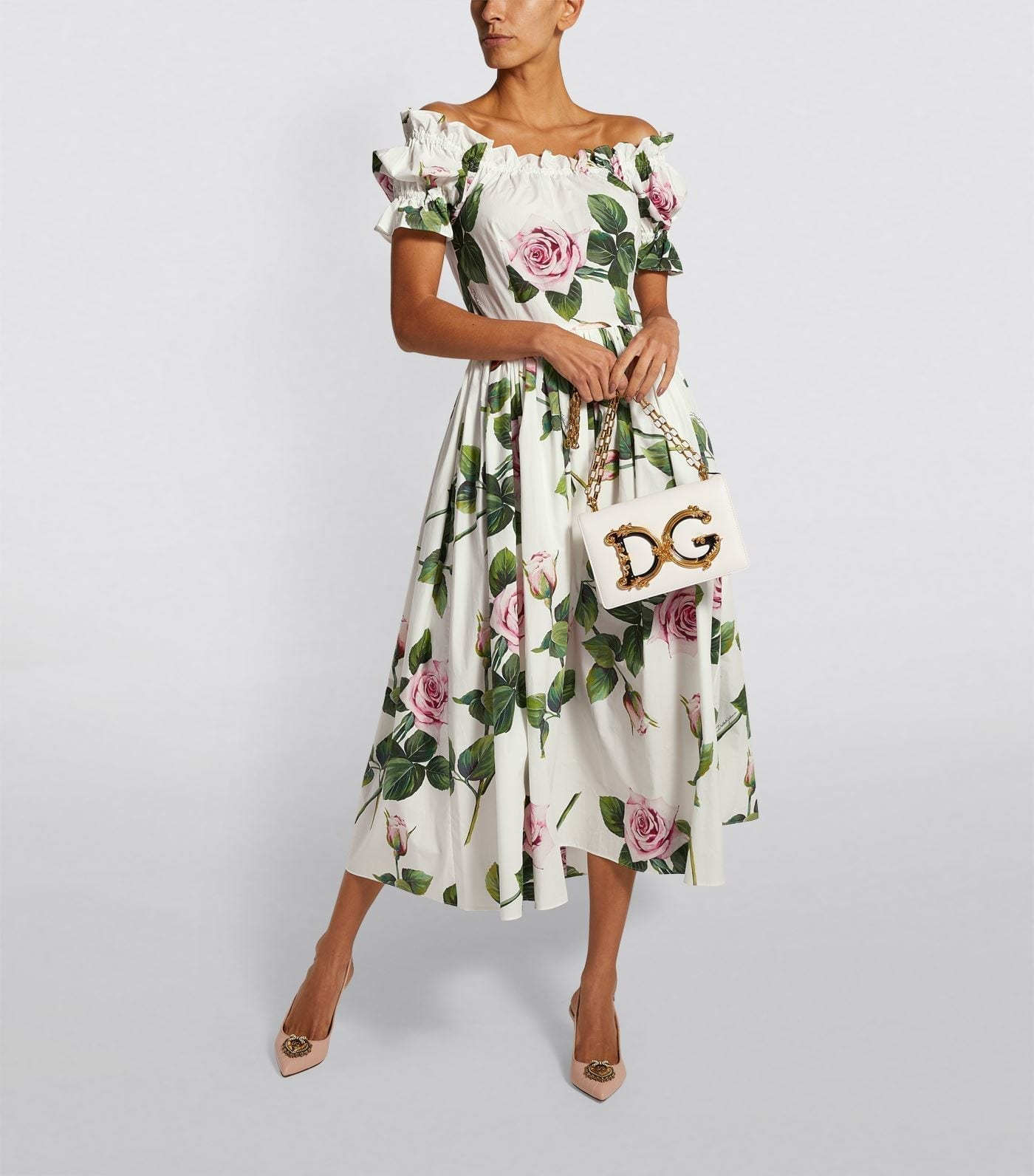 DOLCE & GABBANA Tropical Rose Print Ruffle Dress