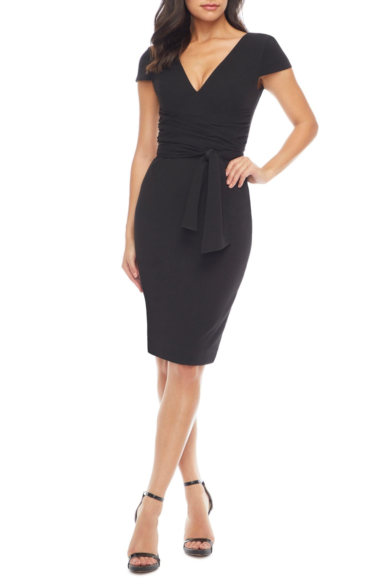 DRESS THE POPULATION Dana Wrap Waist Cocktail Dress