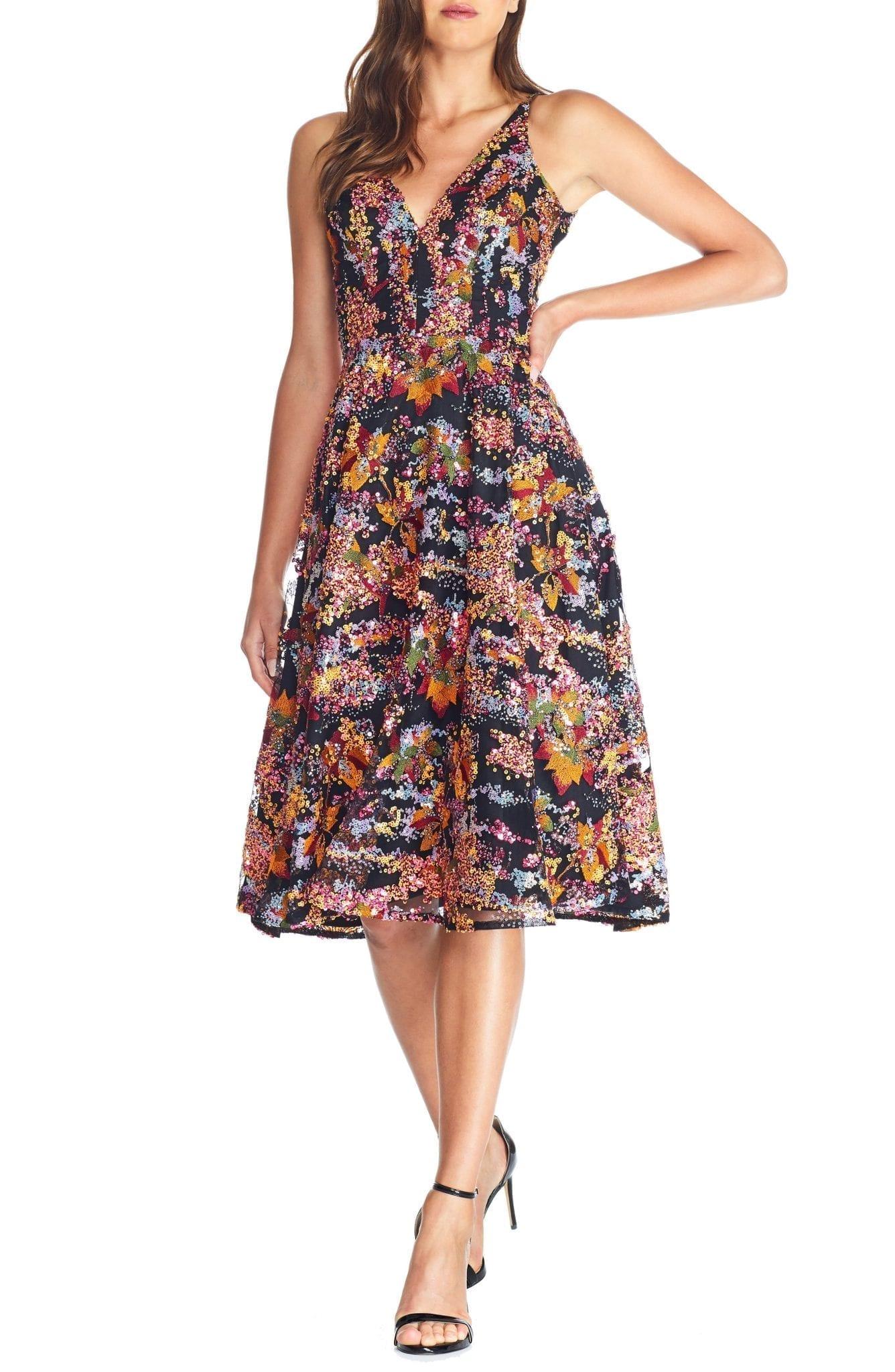 DRESS THE POPULATION Elisa Sequin Embellished Embroidered Fit & Flare Dress