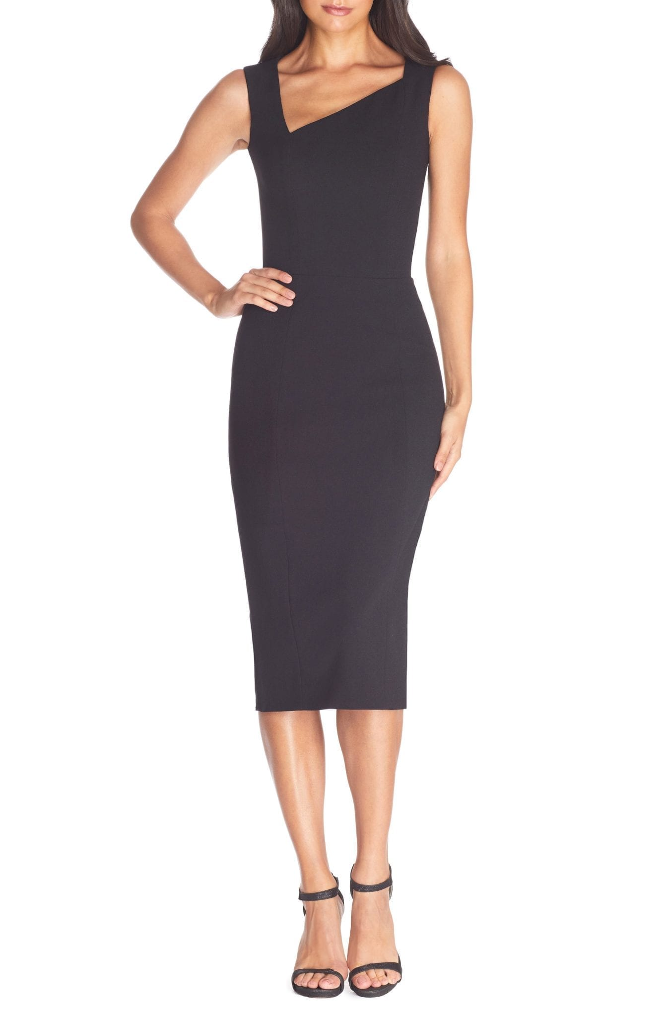 DRESS THE POPULATION Remi Asymmetrical Sheath Dress