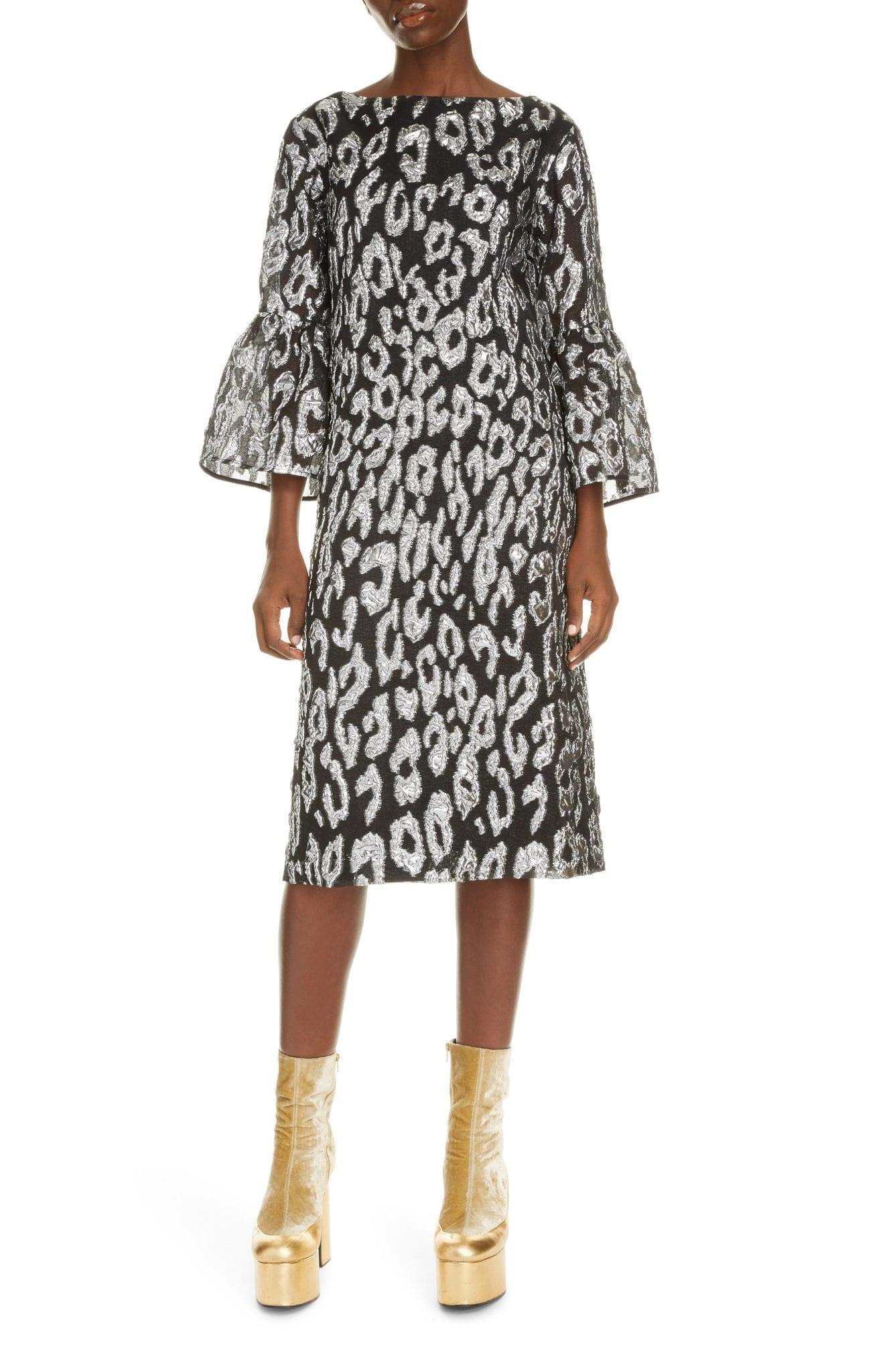 DRIES VAN NOTEN Danz Metallic Leopard Shift Dress