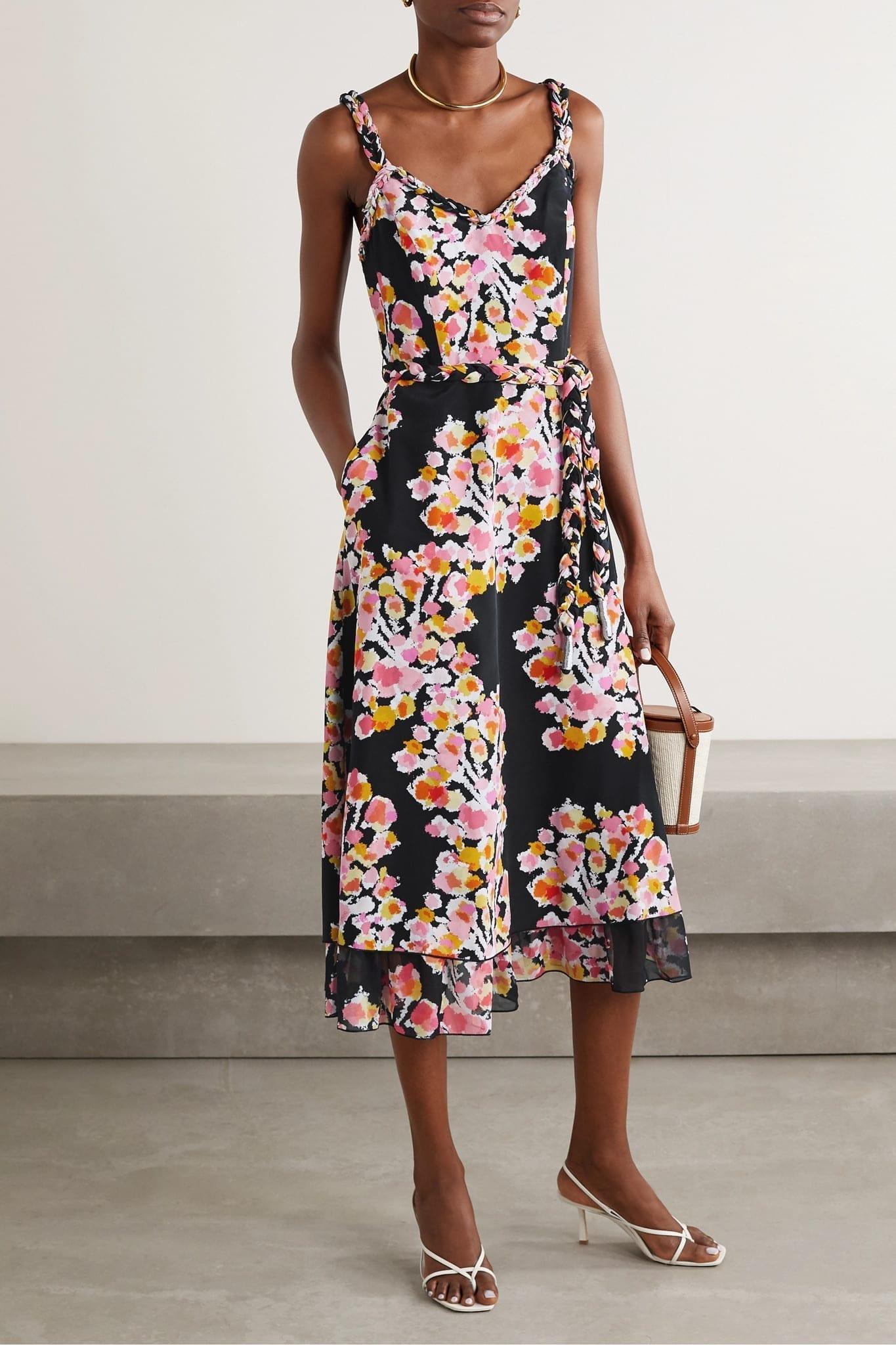 DYVNA Belted Floral-print Silk-crepe Midi Dress