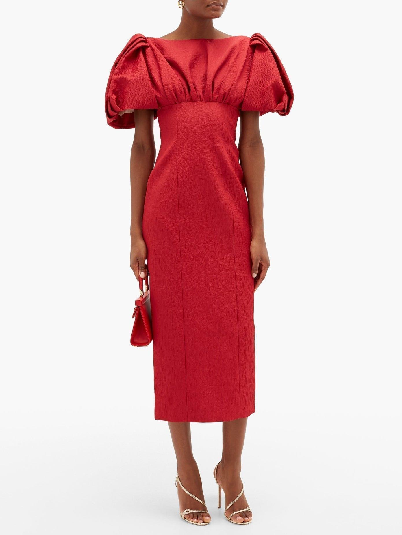 EMILIA WICKSTEAD Petunia Puffed-sleeve Textured-cloqué Dress