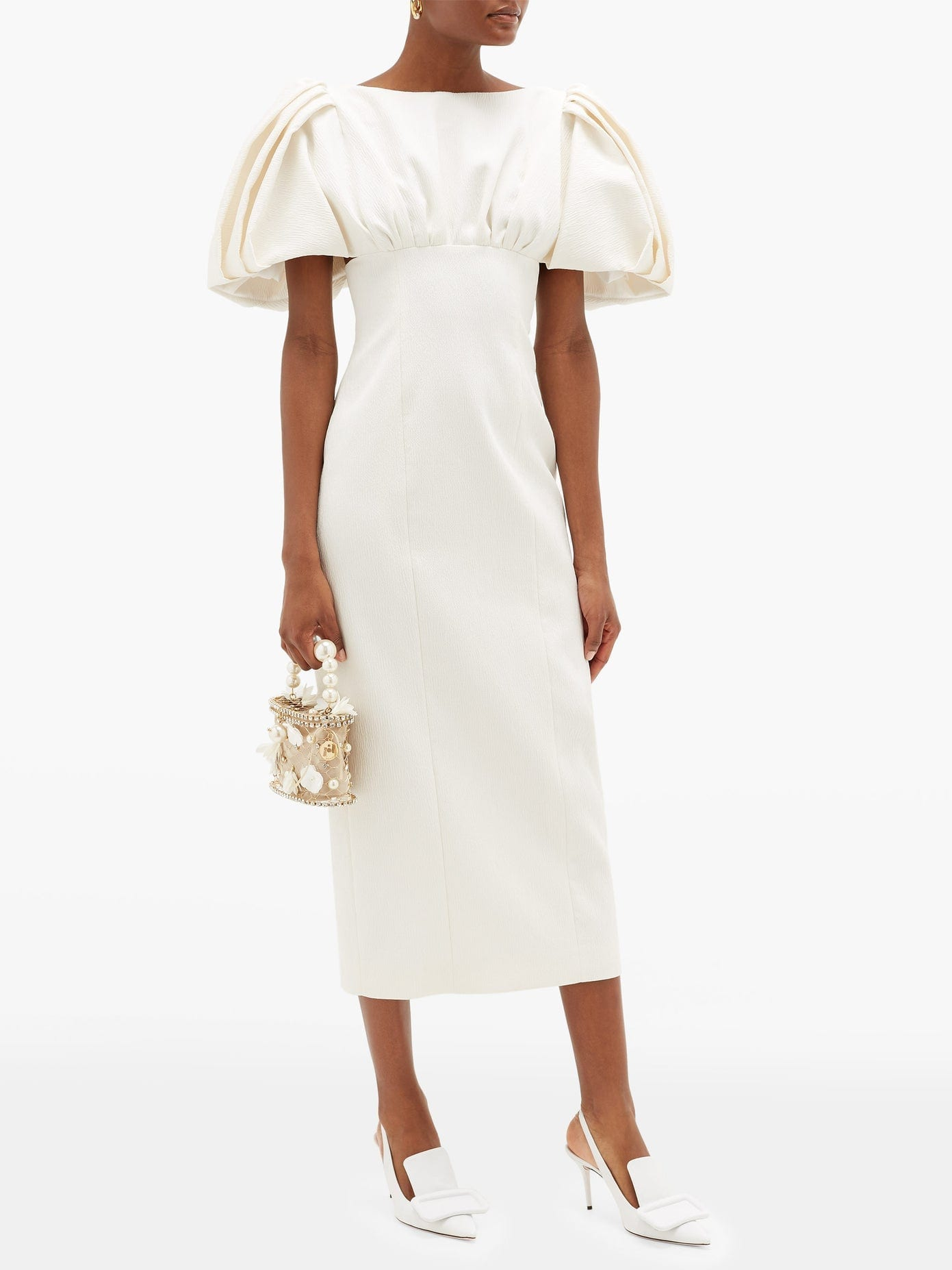 EMILIA WICKSTEAD Petunia Puffed-sleeve Textured-cloqué Dress