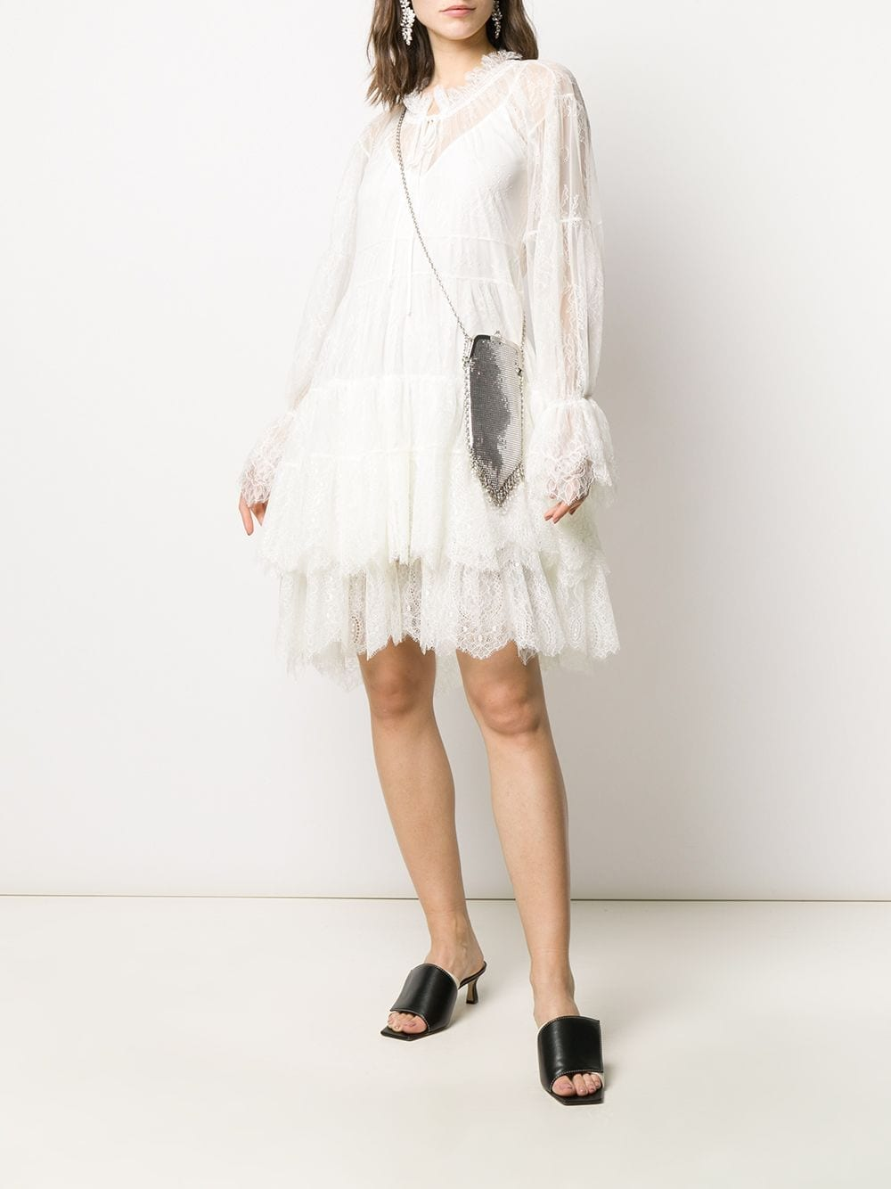 ERMANNO SCERVINO Tiered Floral Lace Mini Dress