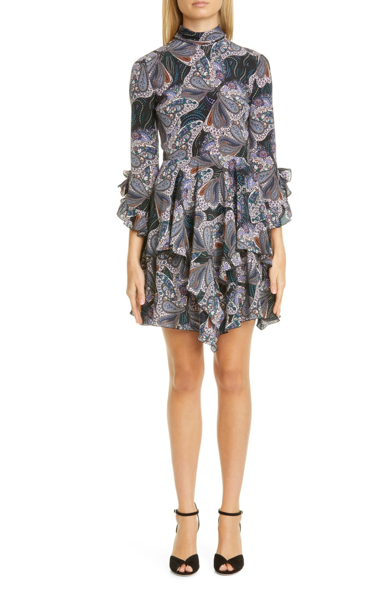 ETRO Paisley Asymmetrical Ruffle Silk Mini Dress