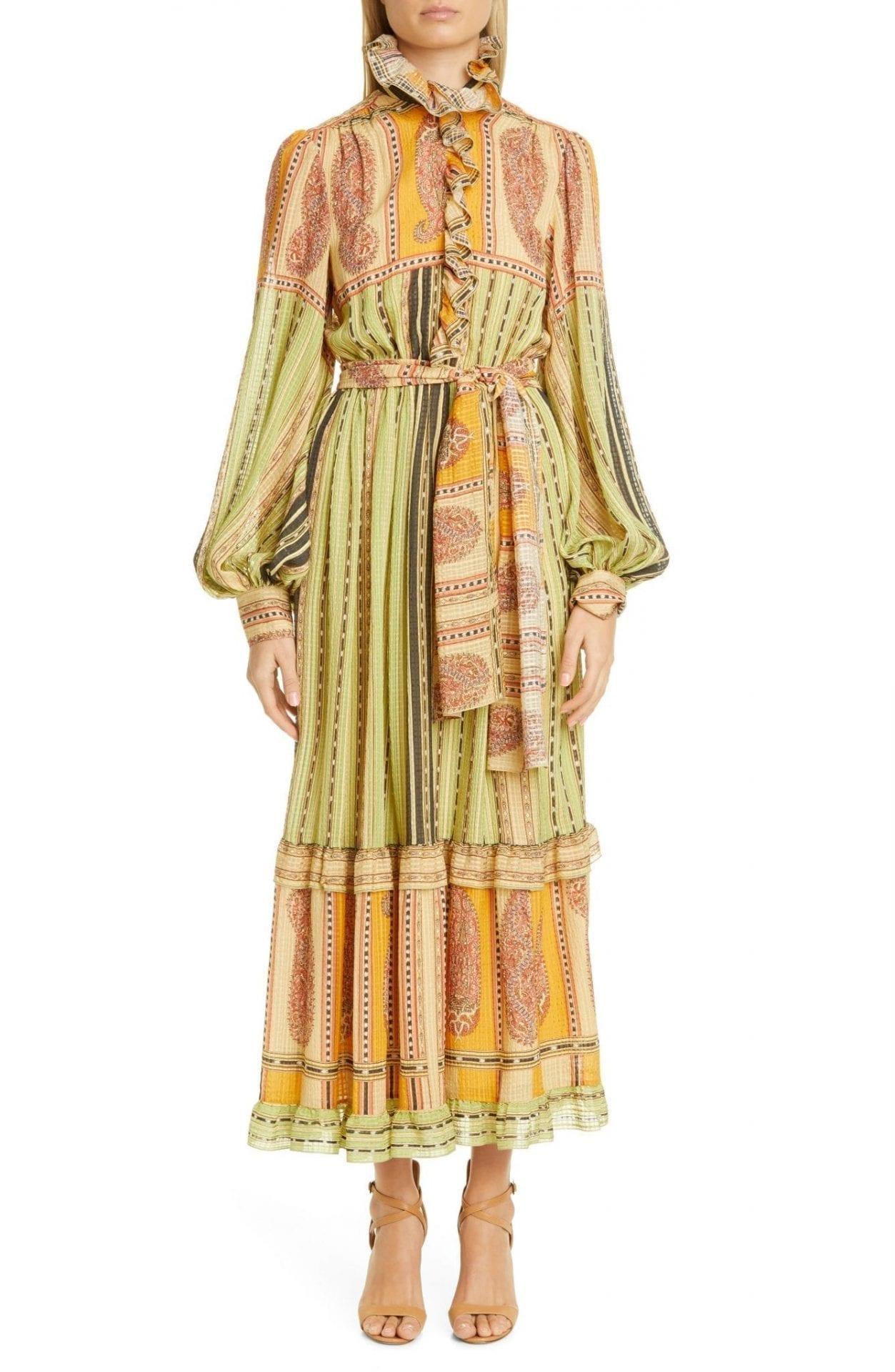 ETRO Paisley Ruffle Long Balloon Sleeve Silk Maxi Dress