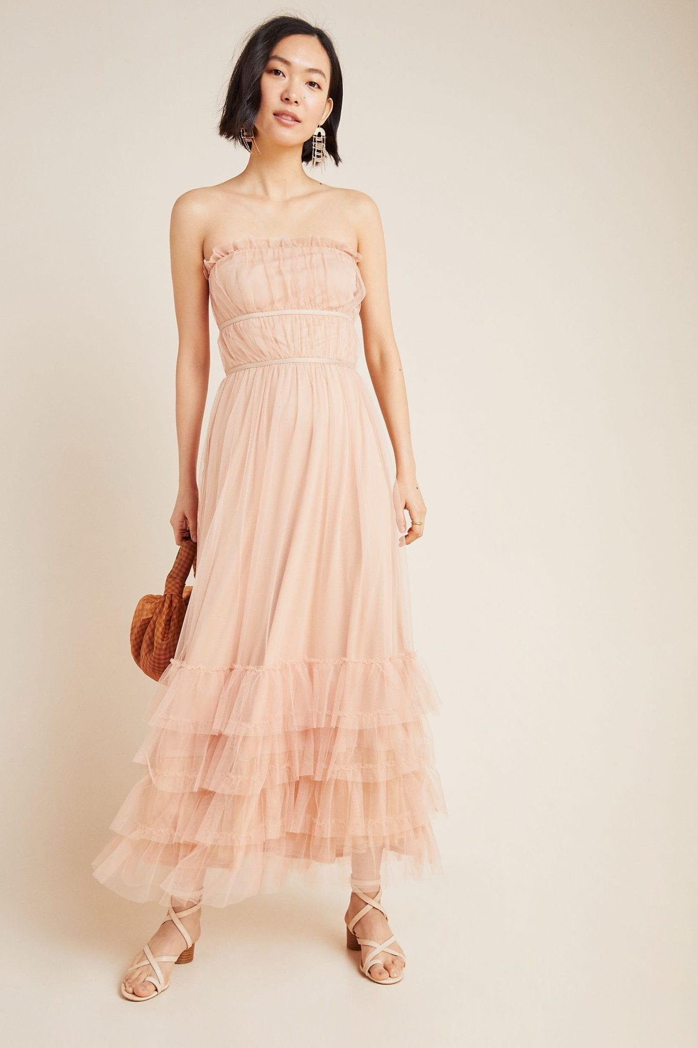 EVA FRANCO Graciela Tiered Tulle Maxi Dress
