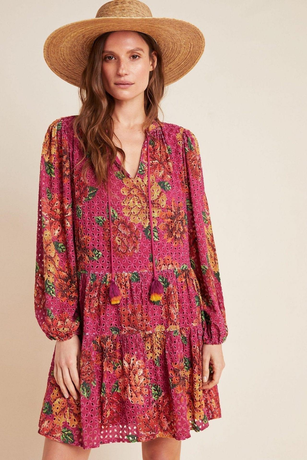 FARM RIO Eyelet Tiered Tunic Dress