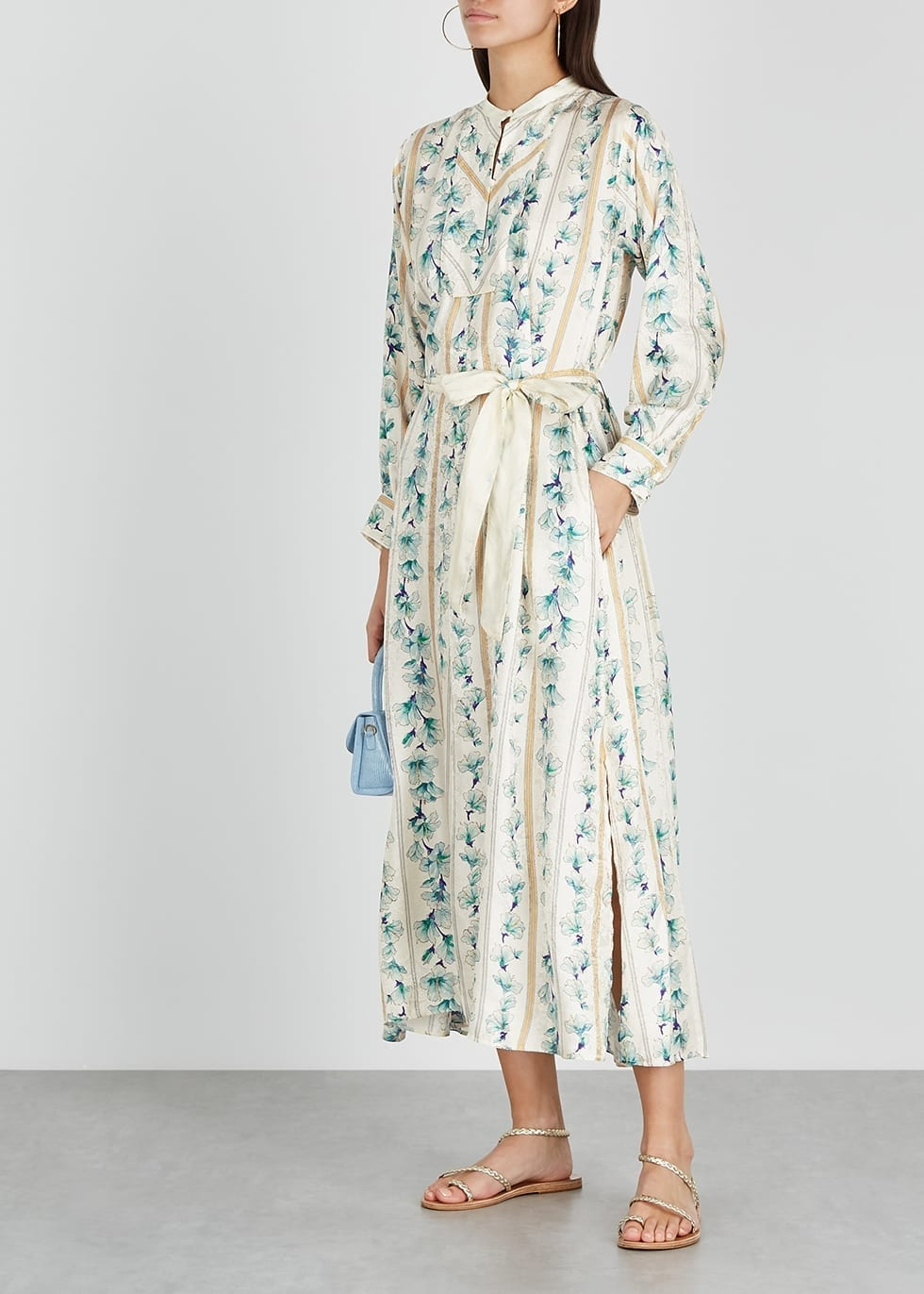 FORTE_FORTE Ivory Floral-print Satin Maxi Dress