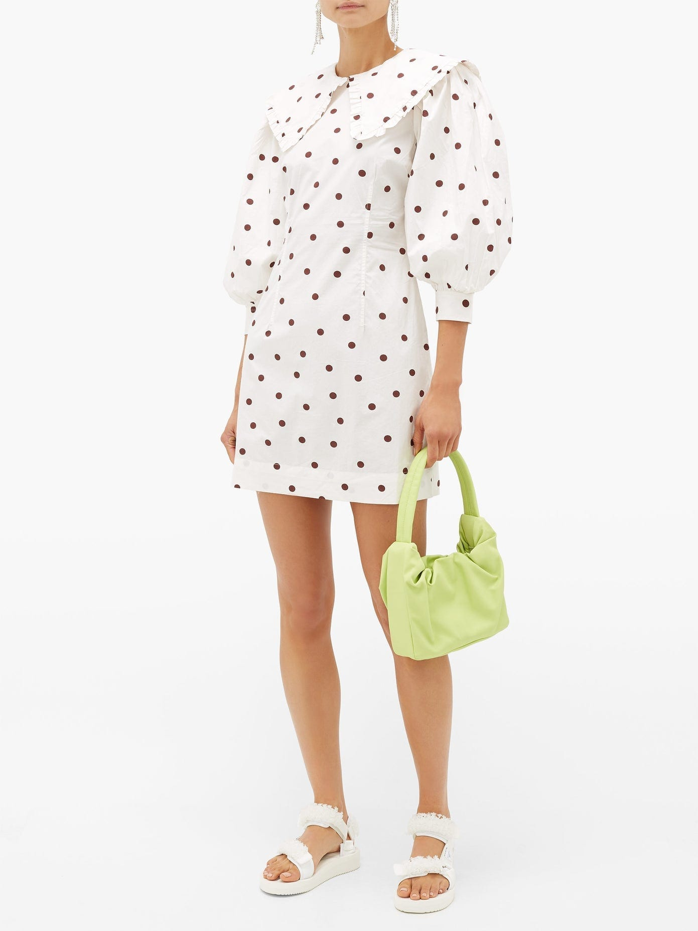 GANNI Sailor-collar Polka-dot Cotton Dress