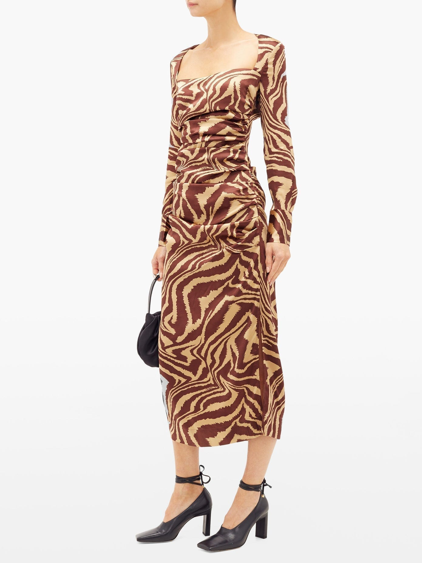 GANNI Tiger-print Silk-blend Charmeuse Midi Dress