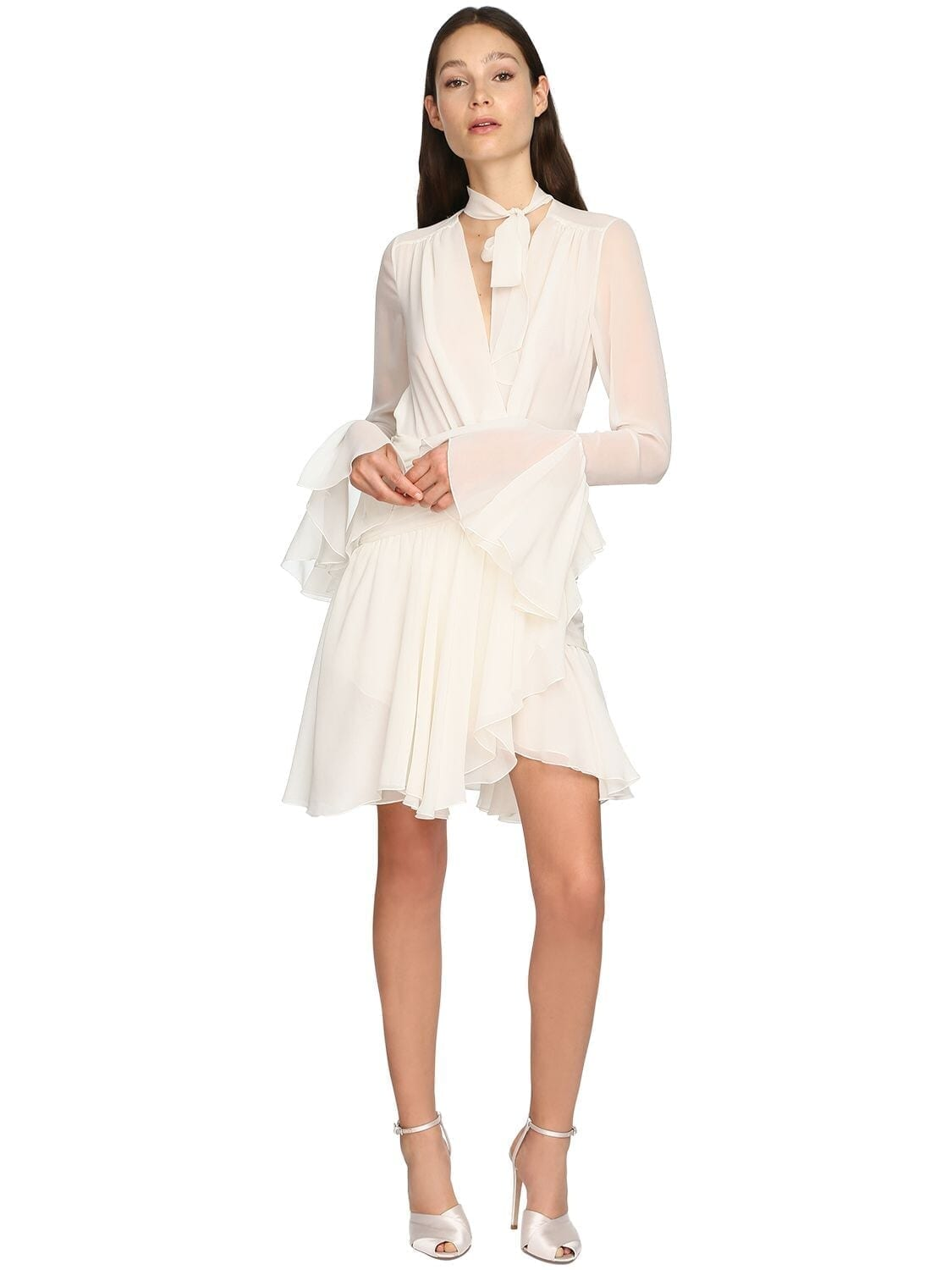 GIAMBATTISTA VALLI Draped Silk Georgette Mini Dress