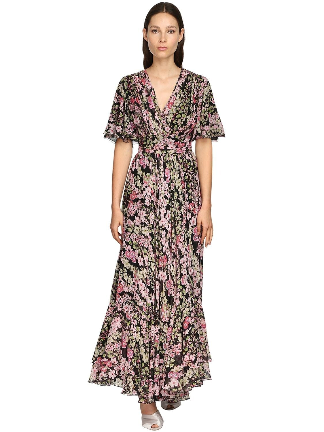 GIAMBATTISTA VALLI Floral Print Silk Georgette Long Dress