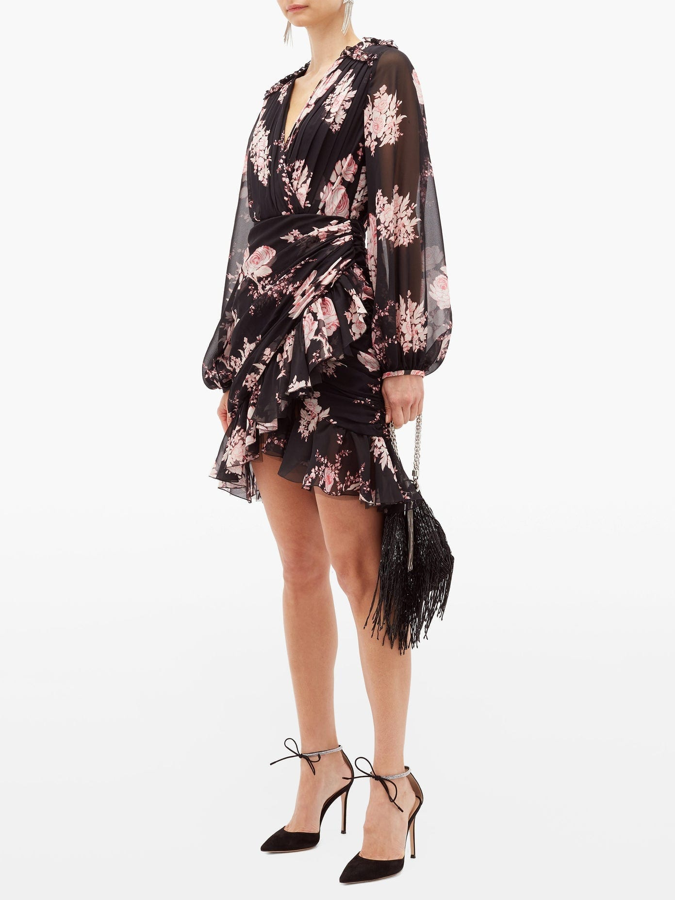 GIAMBATTISTA VALLI Floral-print Draped Silk-georgette Dress