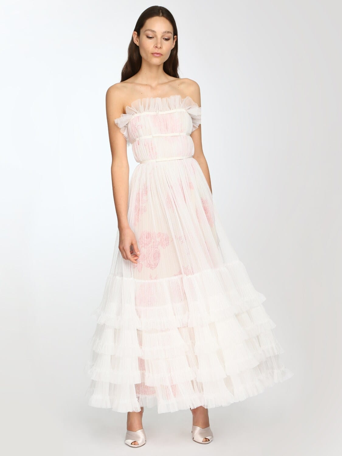 GIAMBATTISTA VALLI Long Ruffled Tulle Dress