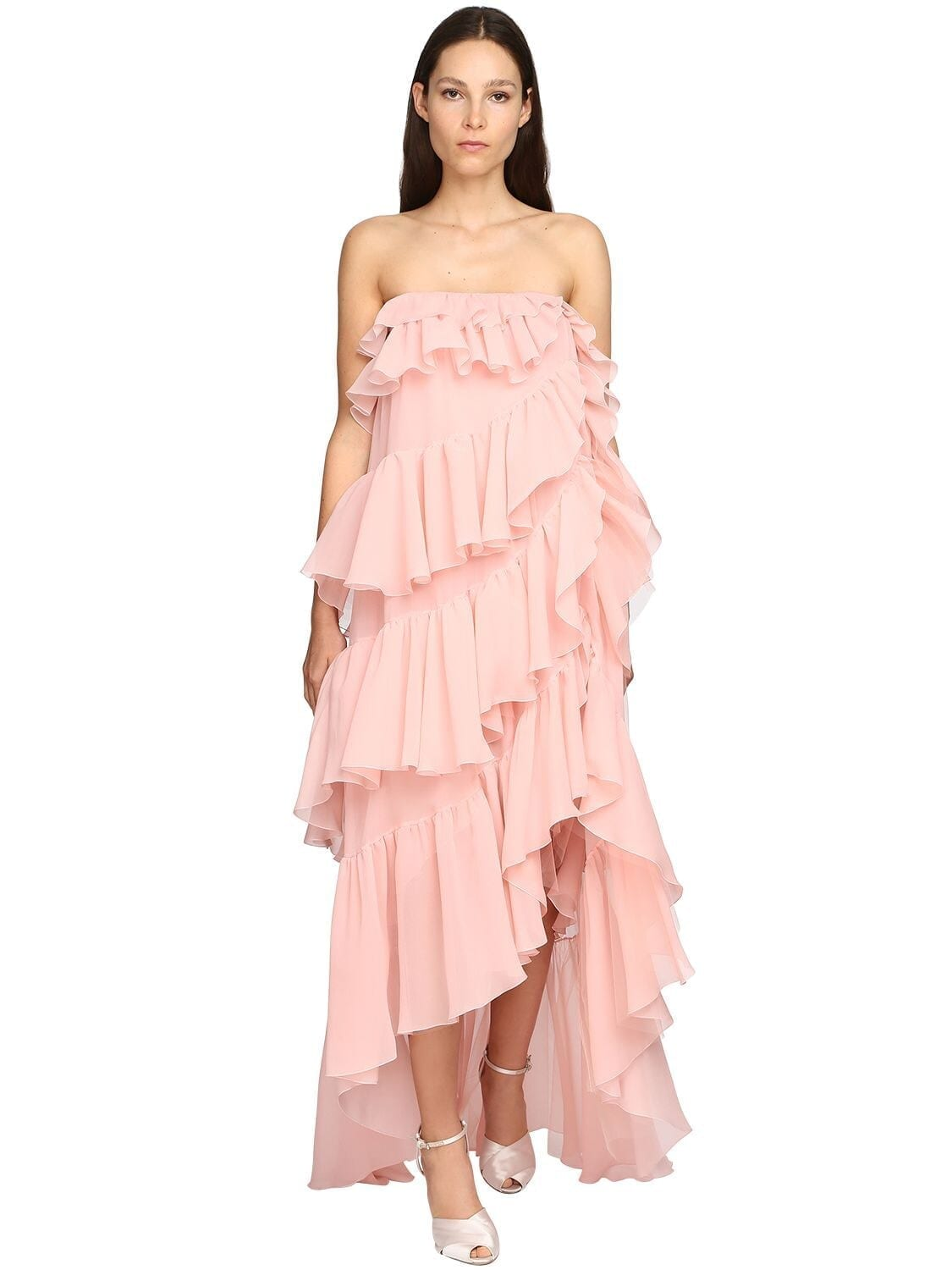 GIAMBATTISTA VALLI Ruffled Silk Georgette Long Dress
