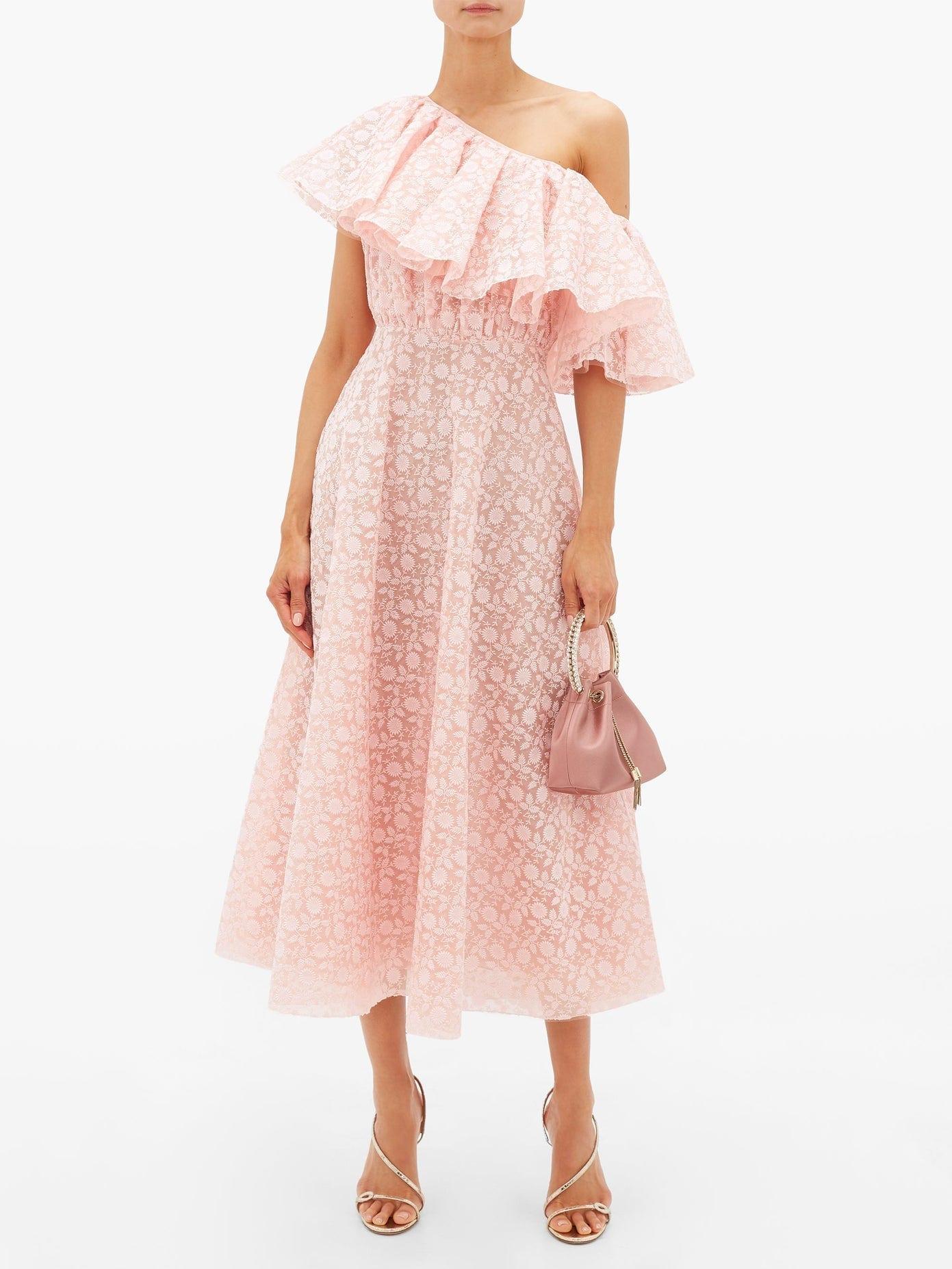 GIAMBATTISTA VALLI Sunflower-lace Ruffled One-shoulder Dress