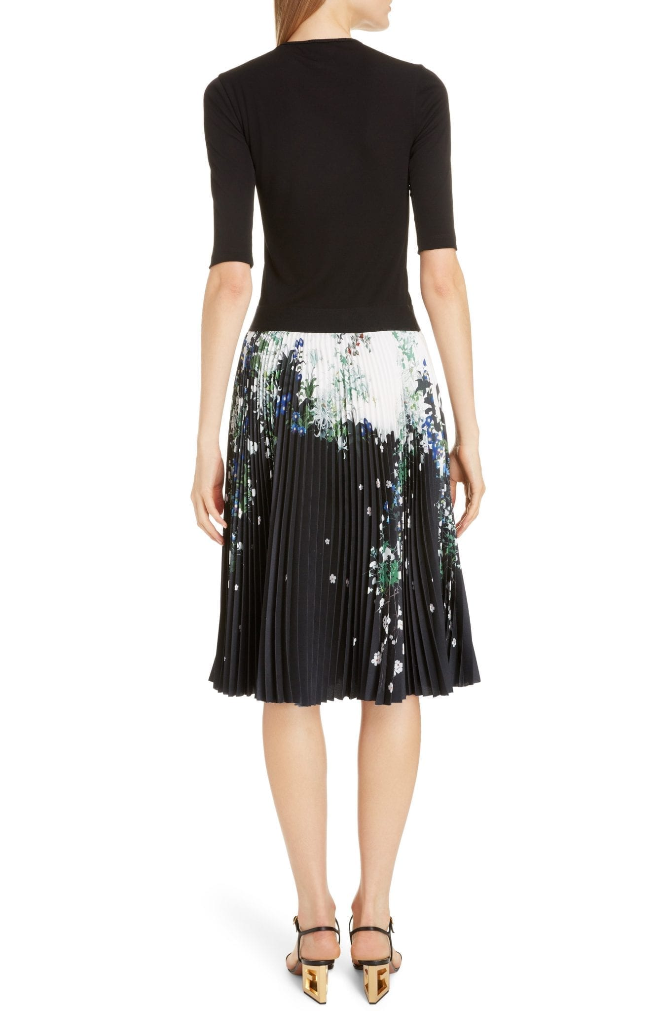 GIVENCHY Solid Knit & Floral Satin Dress