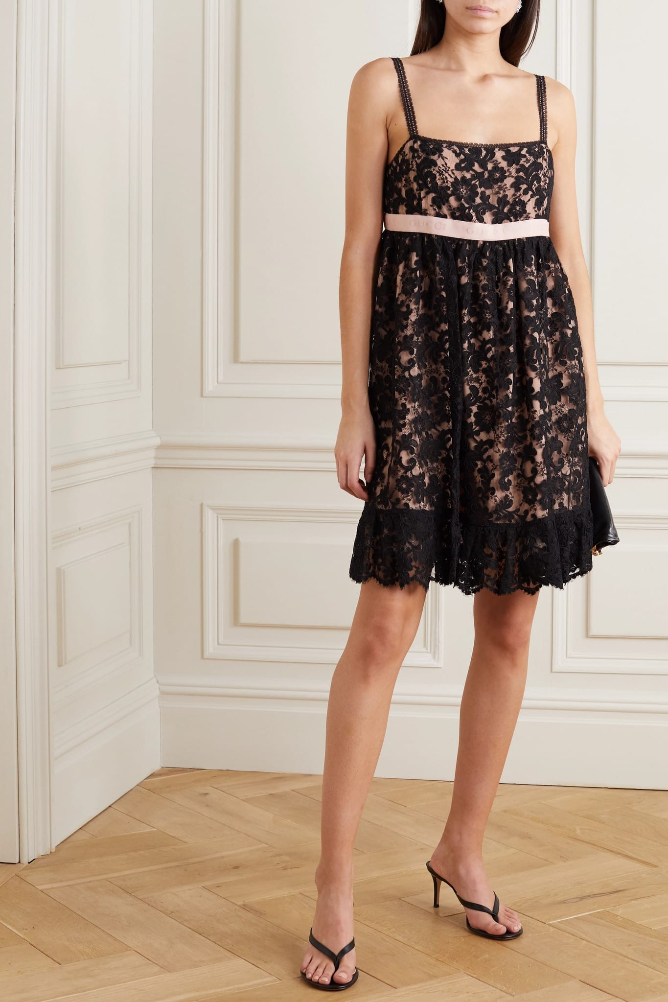 GUCCI Jacquard-trimmed Corded Lace Mini Dress