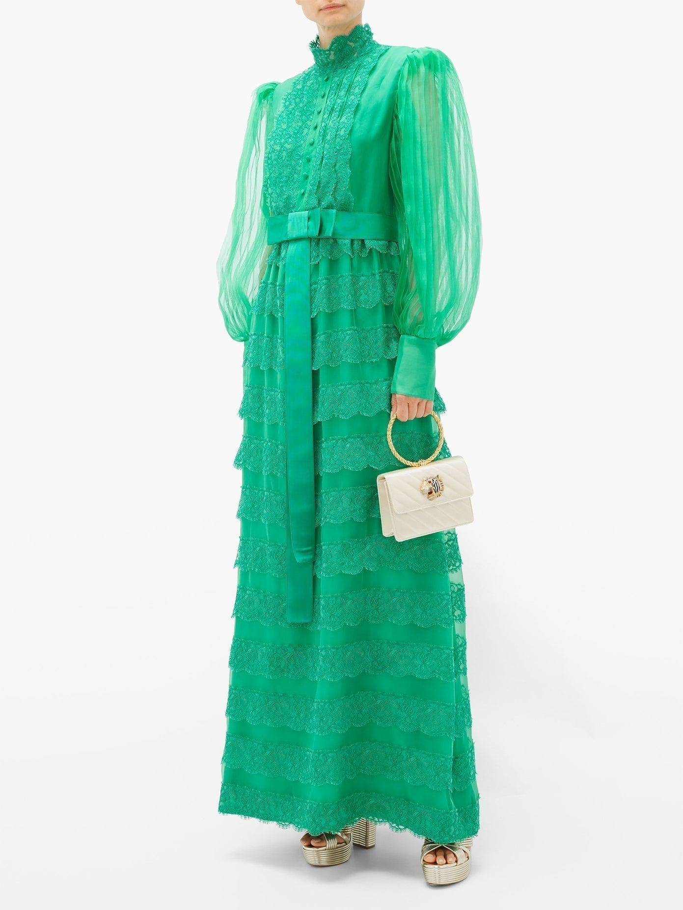GUCCI Lace-trimmed Tiered Georgette Gown