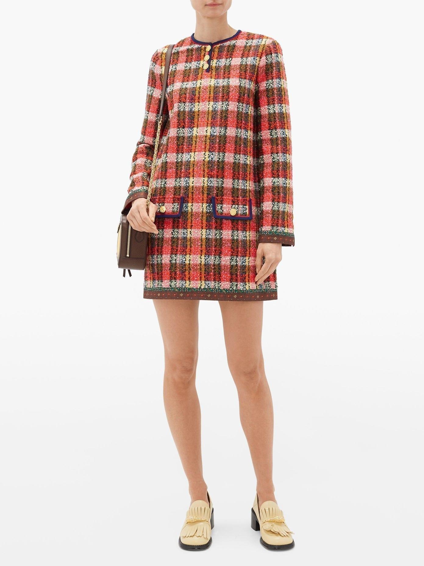 GUCCI Silk-trim Wool-tweed Mini Dress