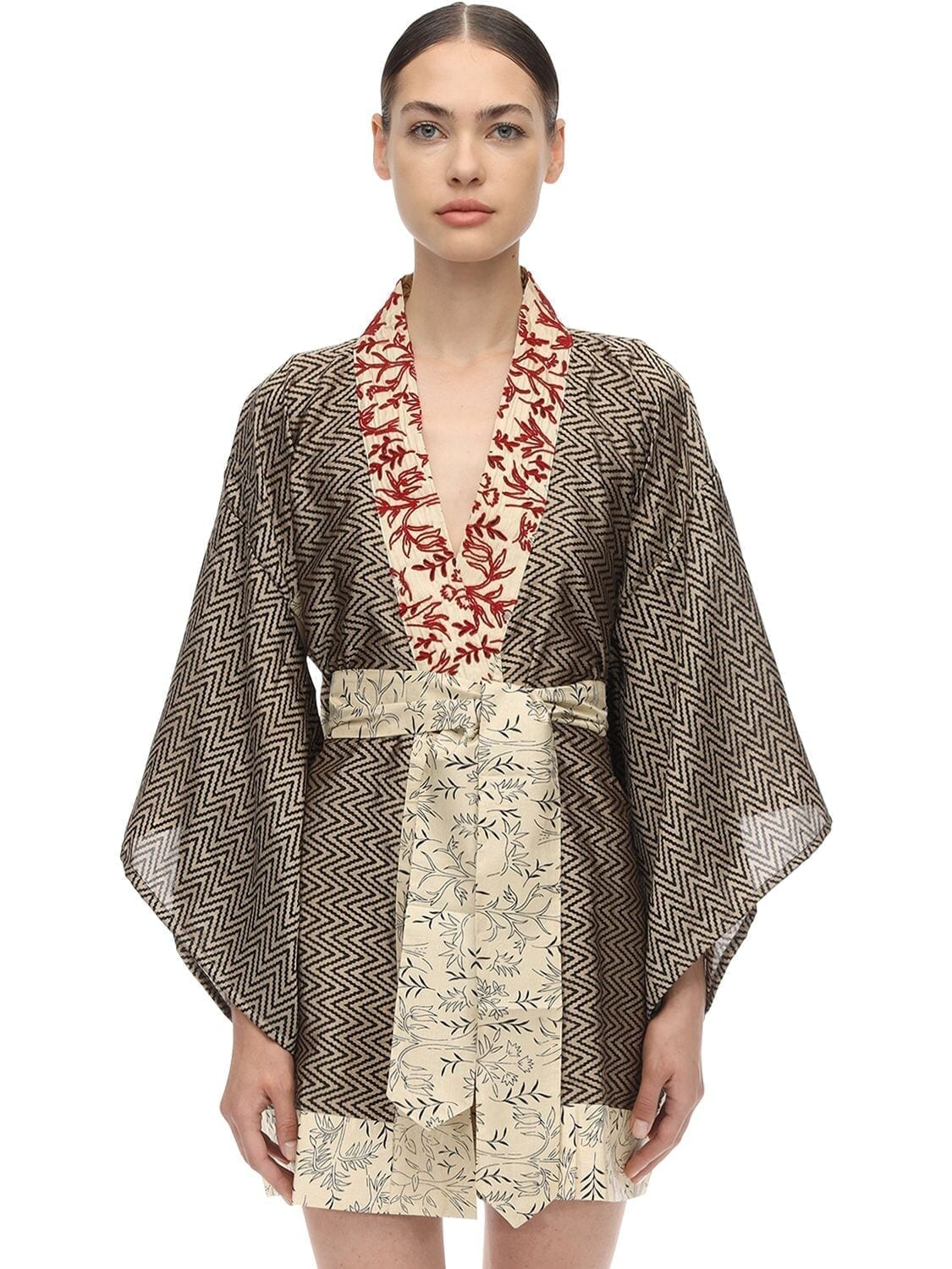 I WAS A SARI LVR Sustainable Hand-embroidered Kimono Dress