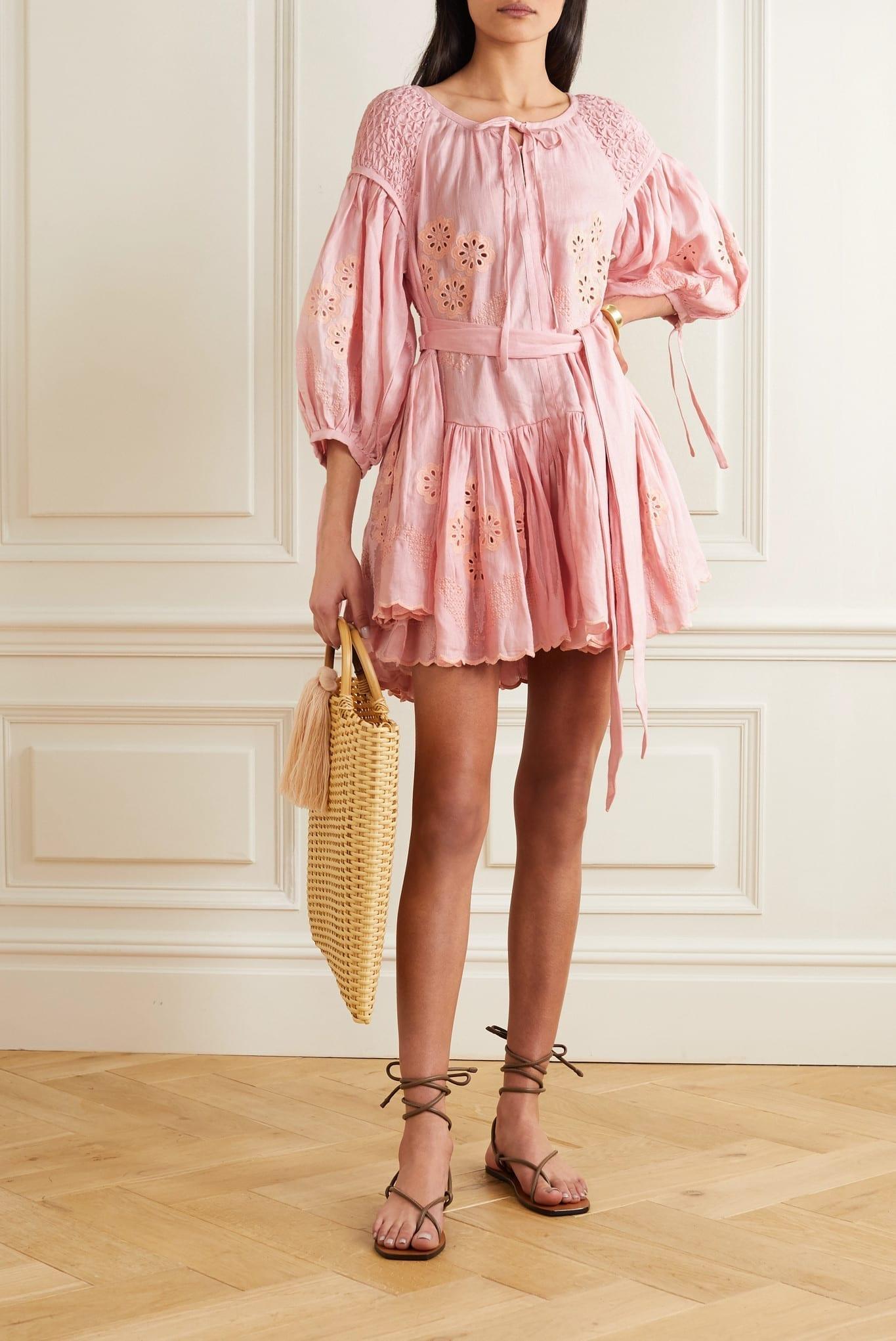 INNIKA CHOO Meg Nettick Ruffled Shirred Broderie Anglaise Linen Mini Dress
