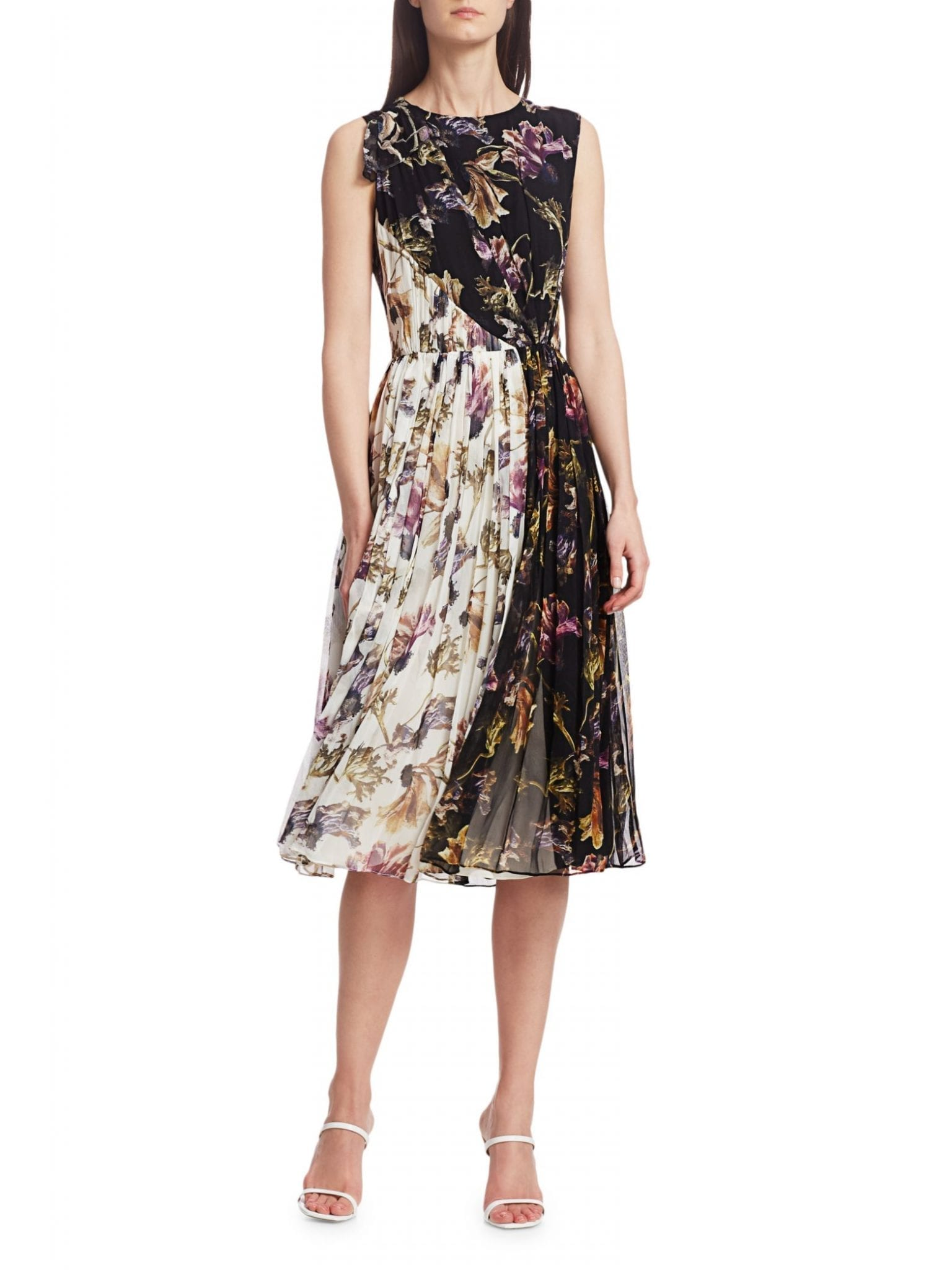 JASON WU COLLECTION Floral Crinkle Silk Chiffon Midi Dress