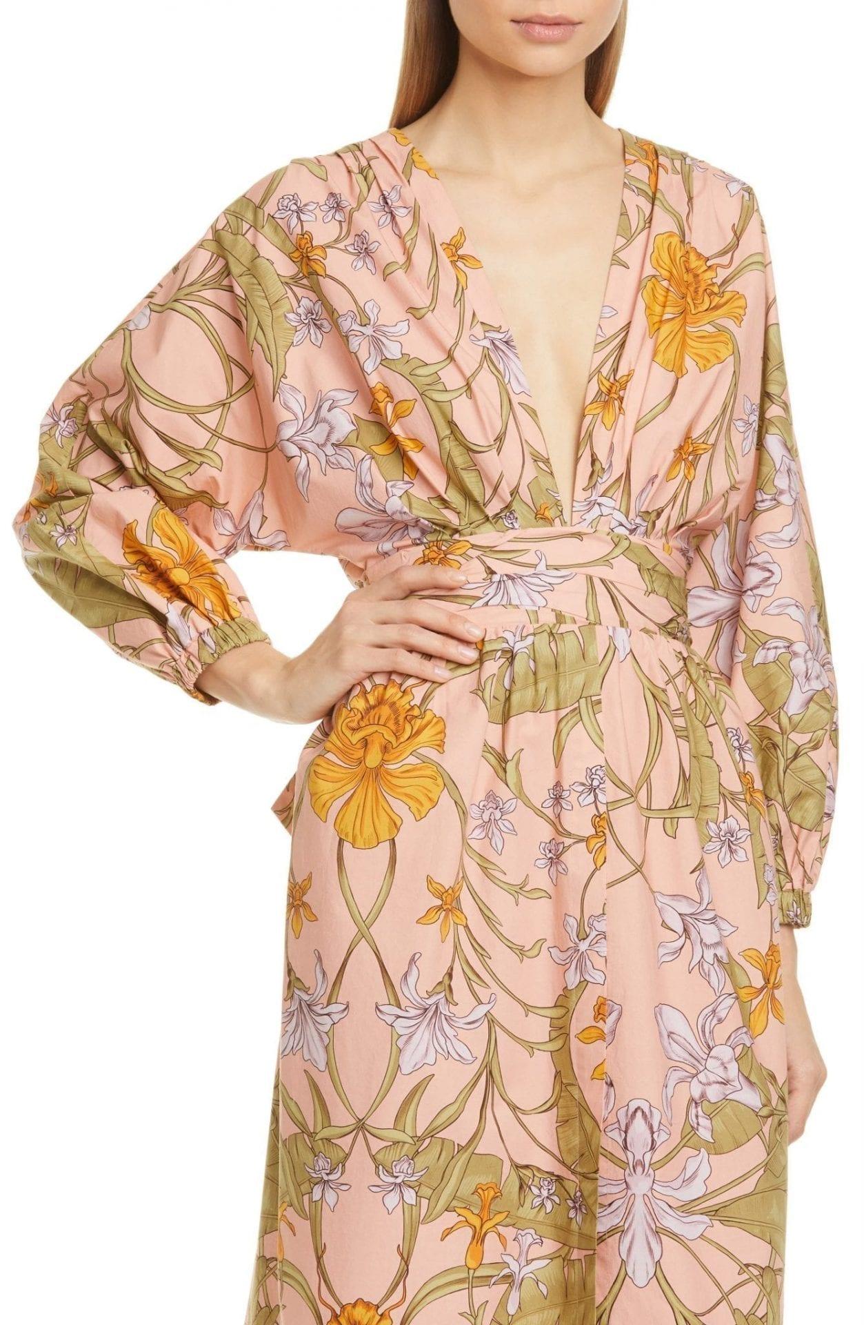 JOHANNA ORTIZ Floral Plunge Neck Cotton Midi Dress