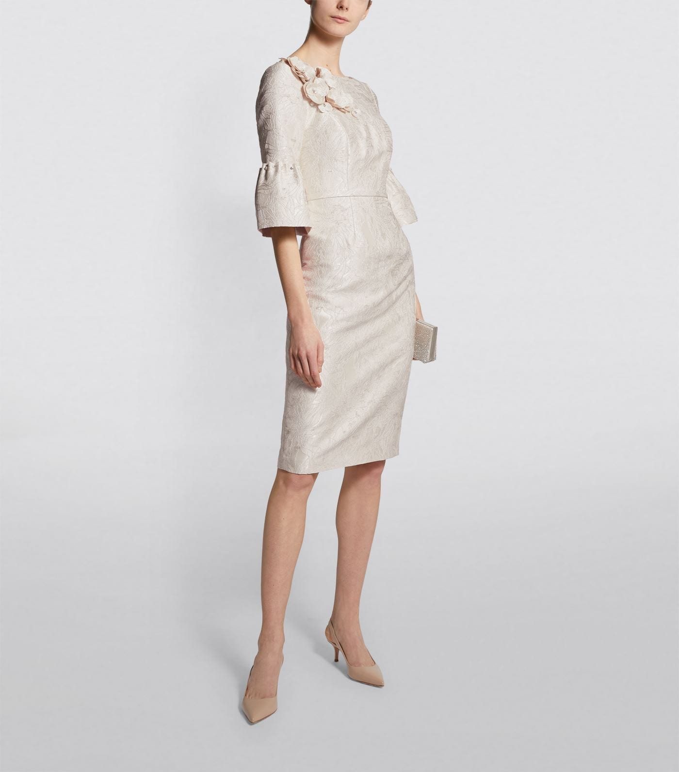 JOHN CHARLES Flower Appliqué Jacquard Dress