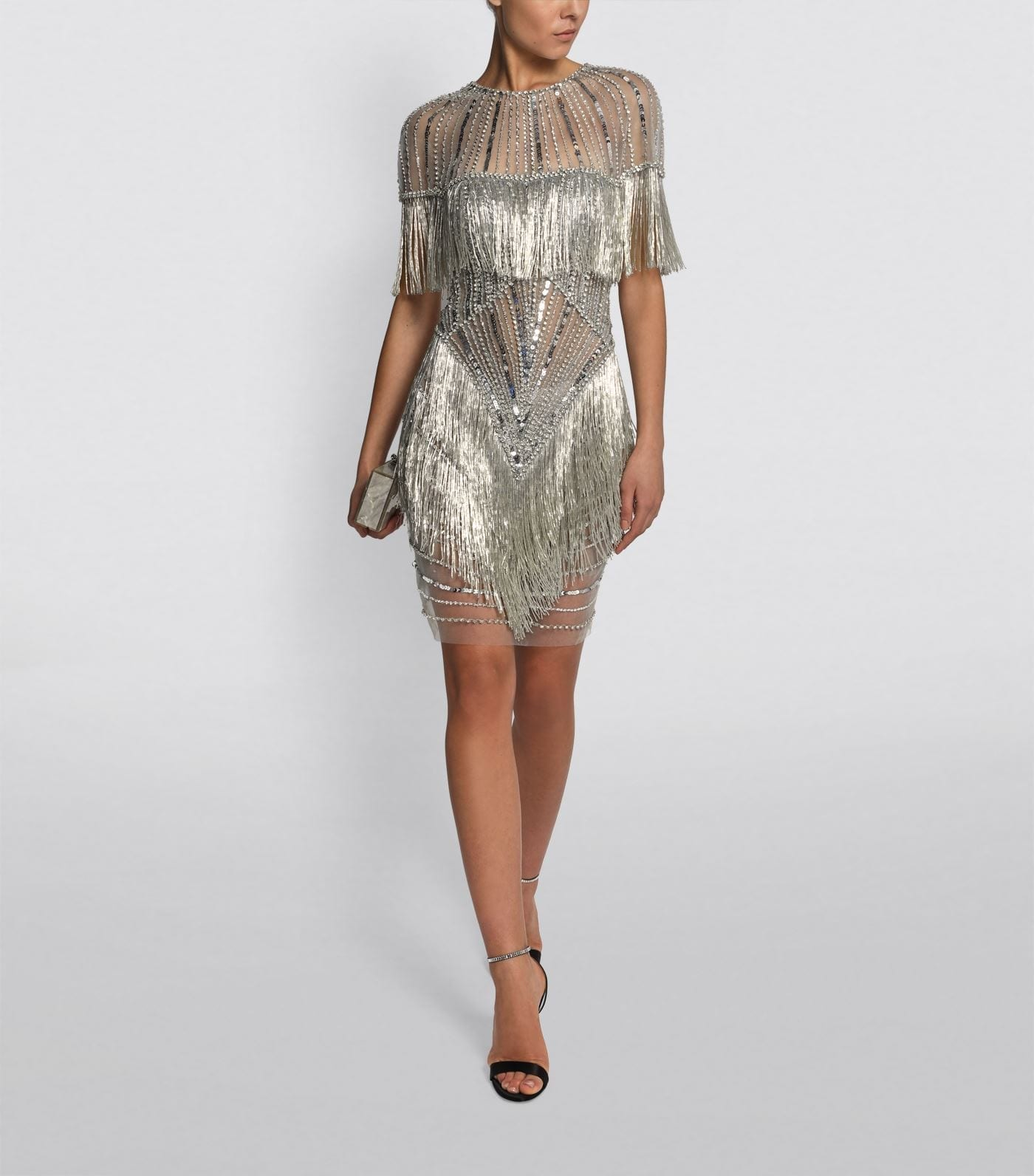 JOVANI Illusion Beaded Mini Dress
