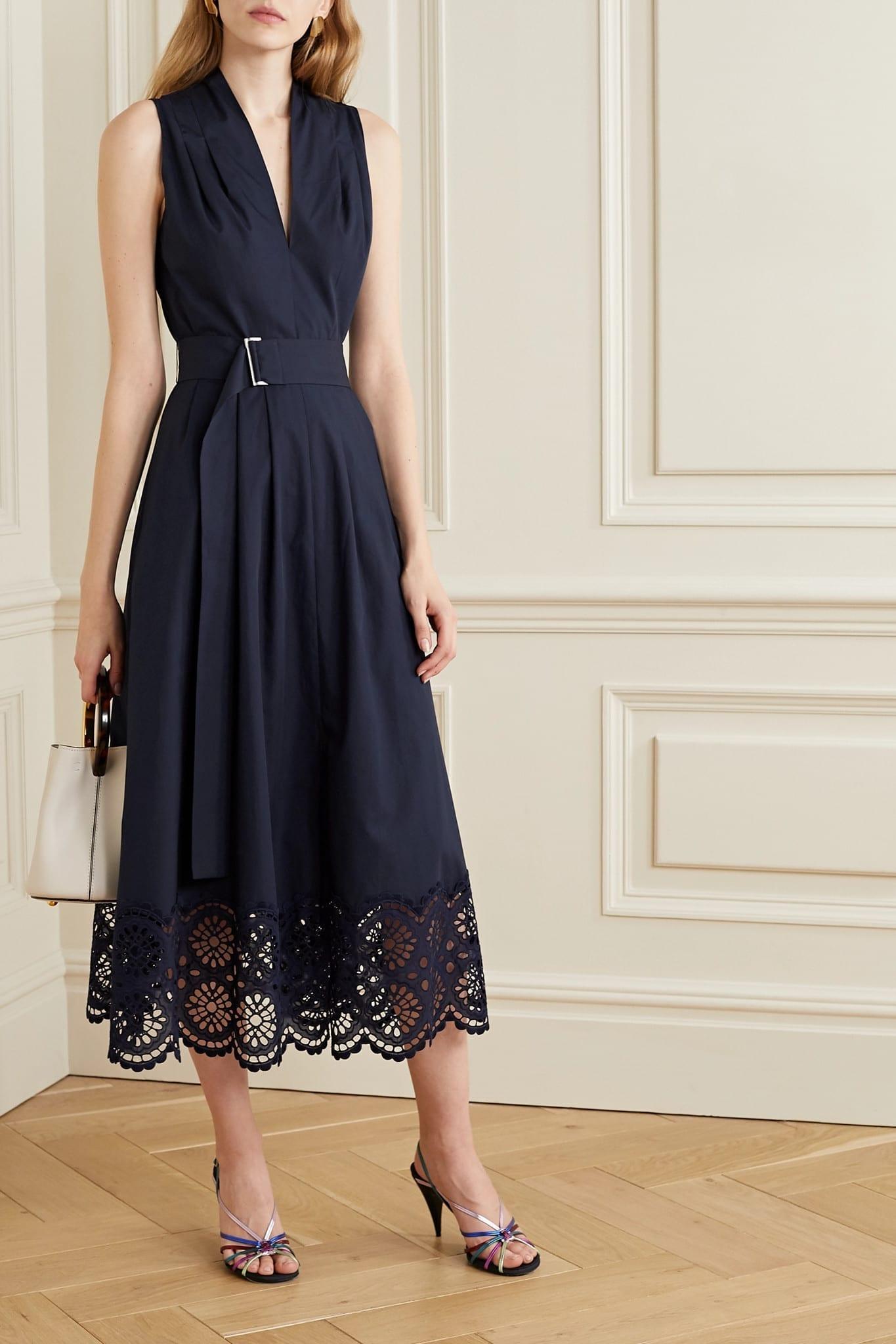 LELA ROSE Belted Broderie Anglaise Cotton-blend Poplin Midi Dress