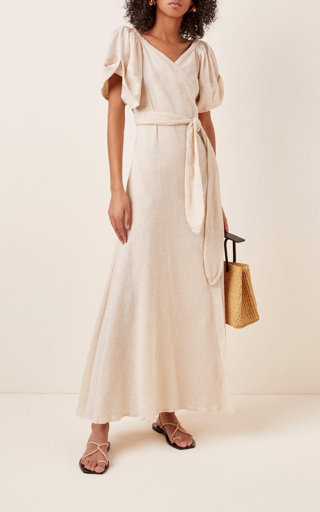 MARA HOFFMAN Adelina Off-The-Shoulder Cotton-Blend Midi Dress