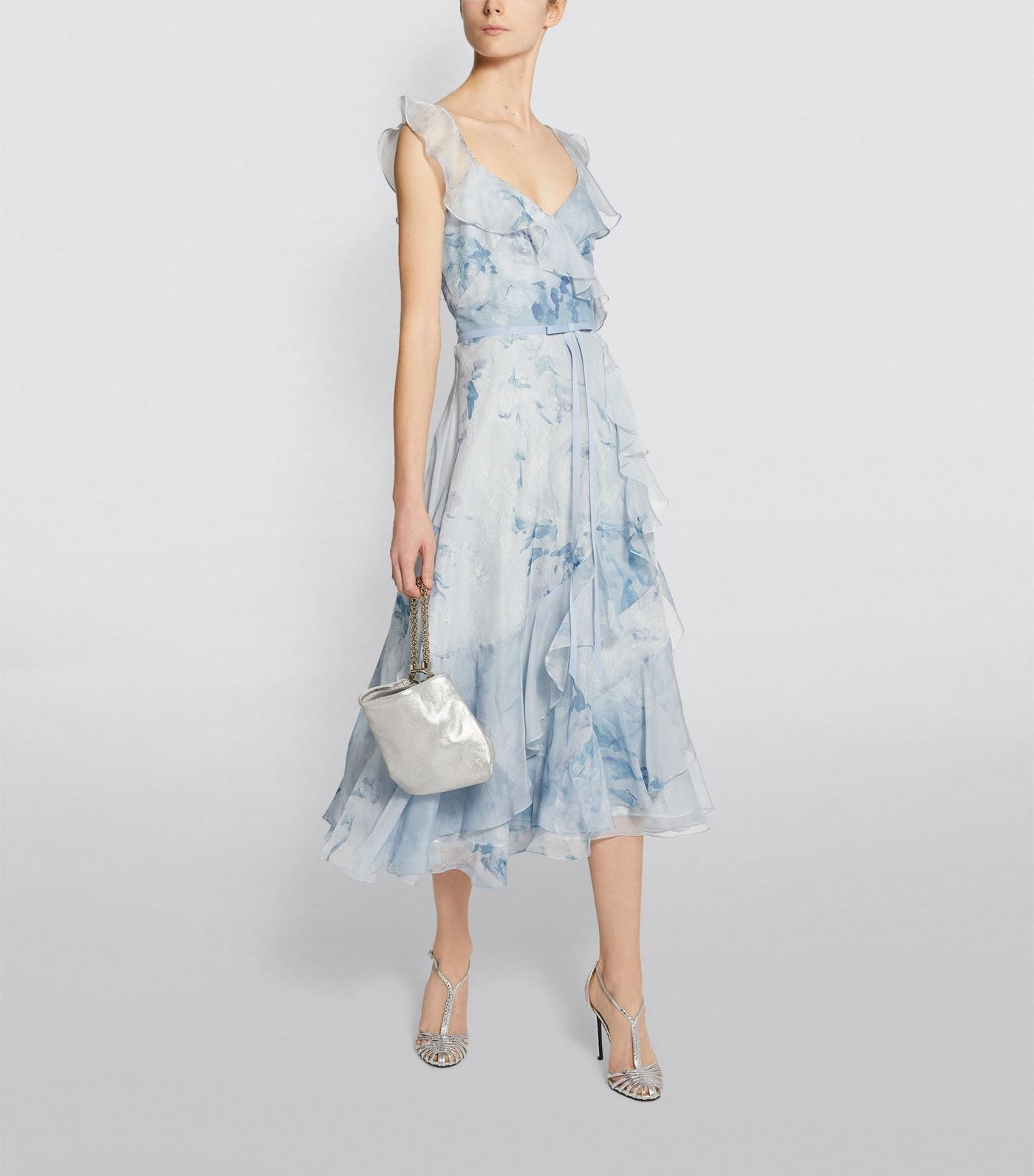 MARCHESA NOTTE Chiffon and Lace Tea-Length Dress