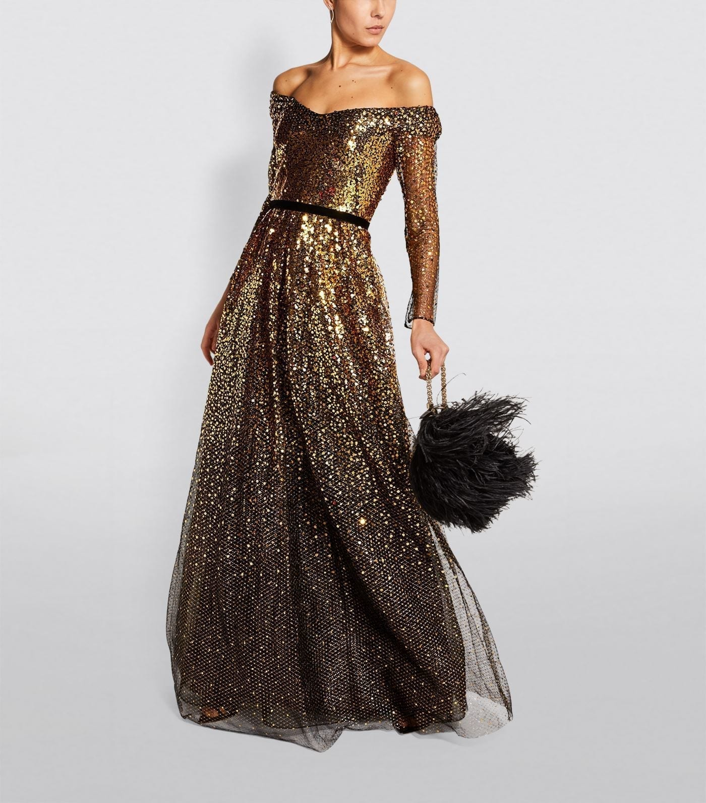 MARCHESA NOTTE Dégradé Sequin Off-Shoulder Gown